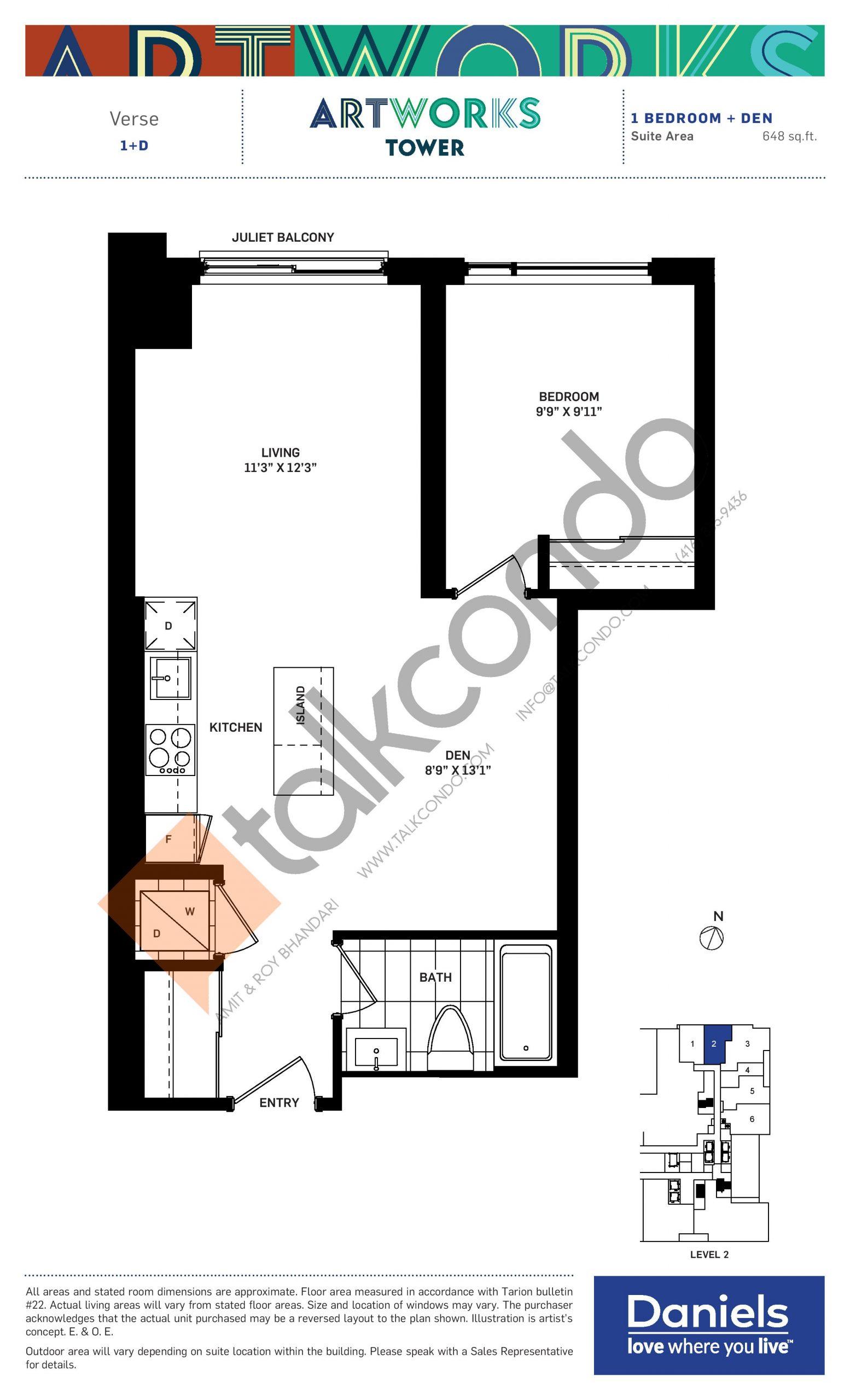 Verse Floor Plan at Artworks Tower Condos - 648 sq.ft
