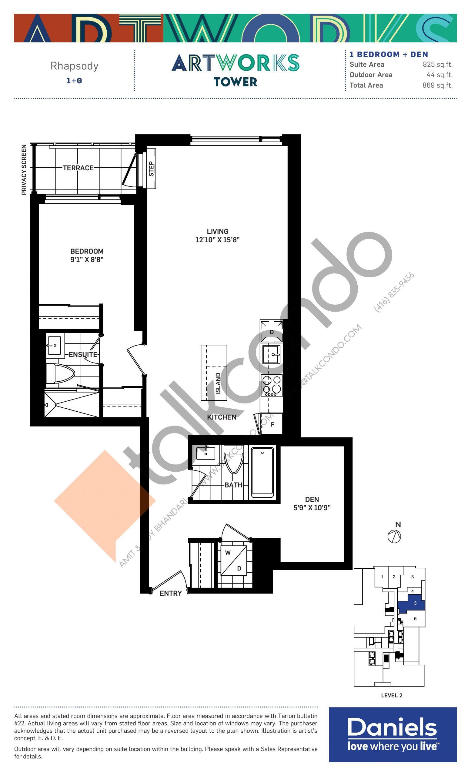 Rhapsody Floor Plan at Artworks Tower Condos - 825 sq.ft