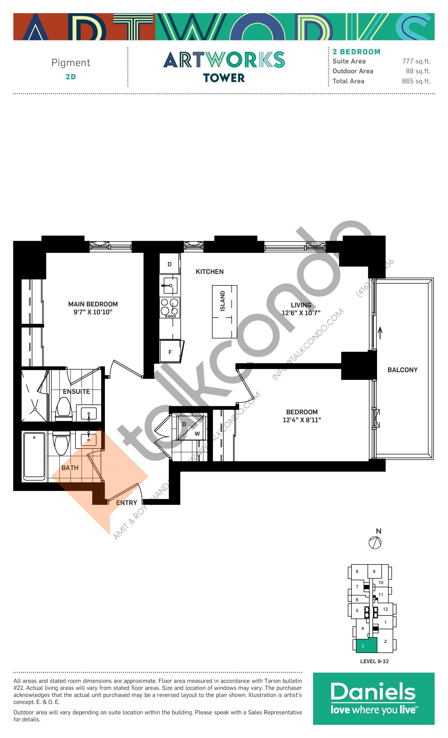 Pigment Floor Plan at Artworks Tower Condos - 777 sq.ft
