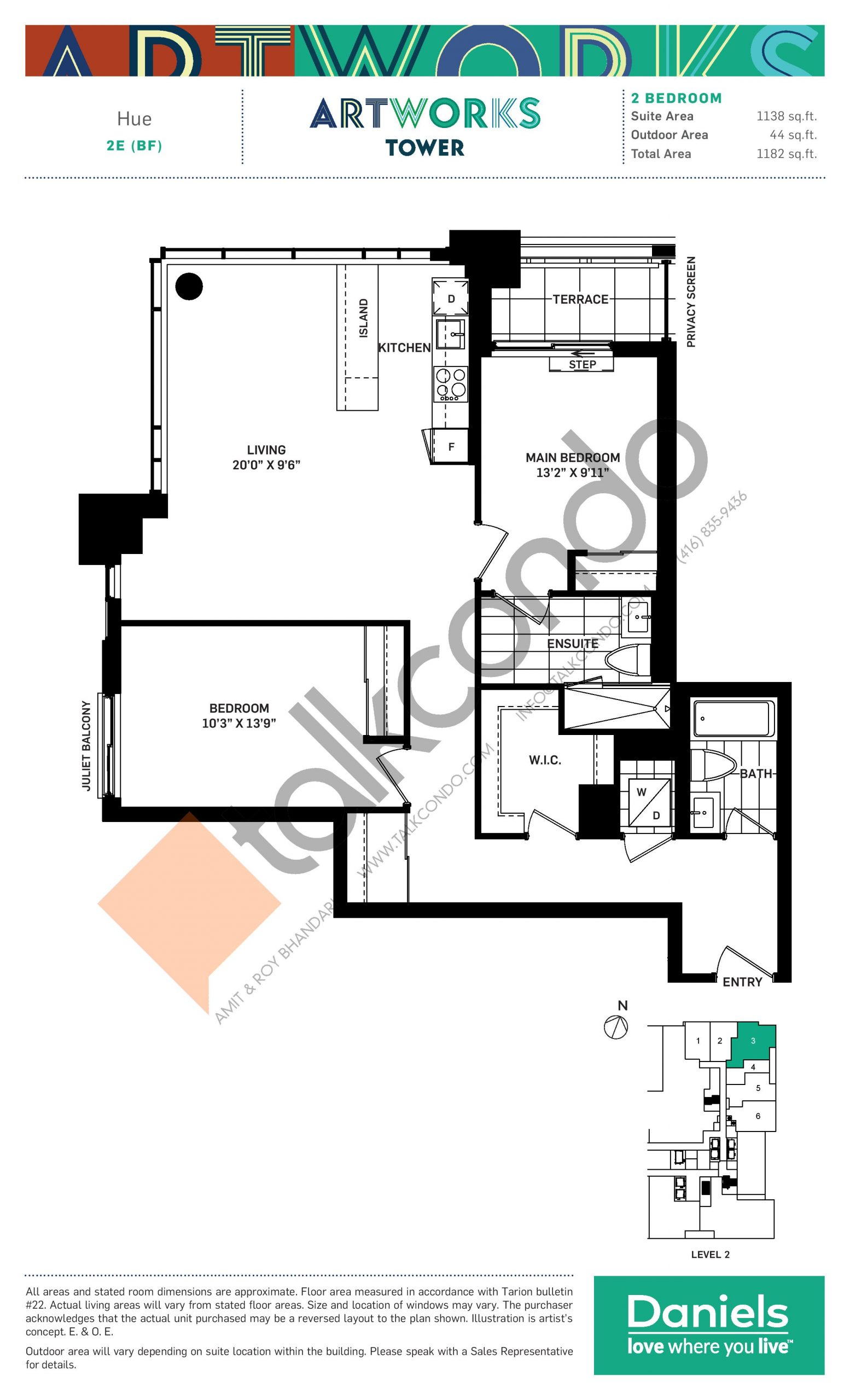 Hue Floor Plan at Artworks Tower Condos - 1138 sq.ft
