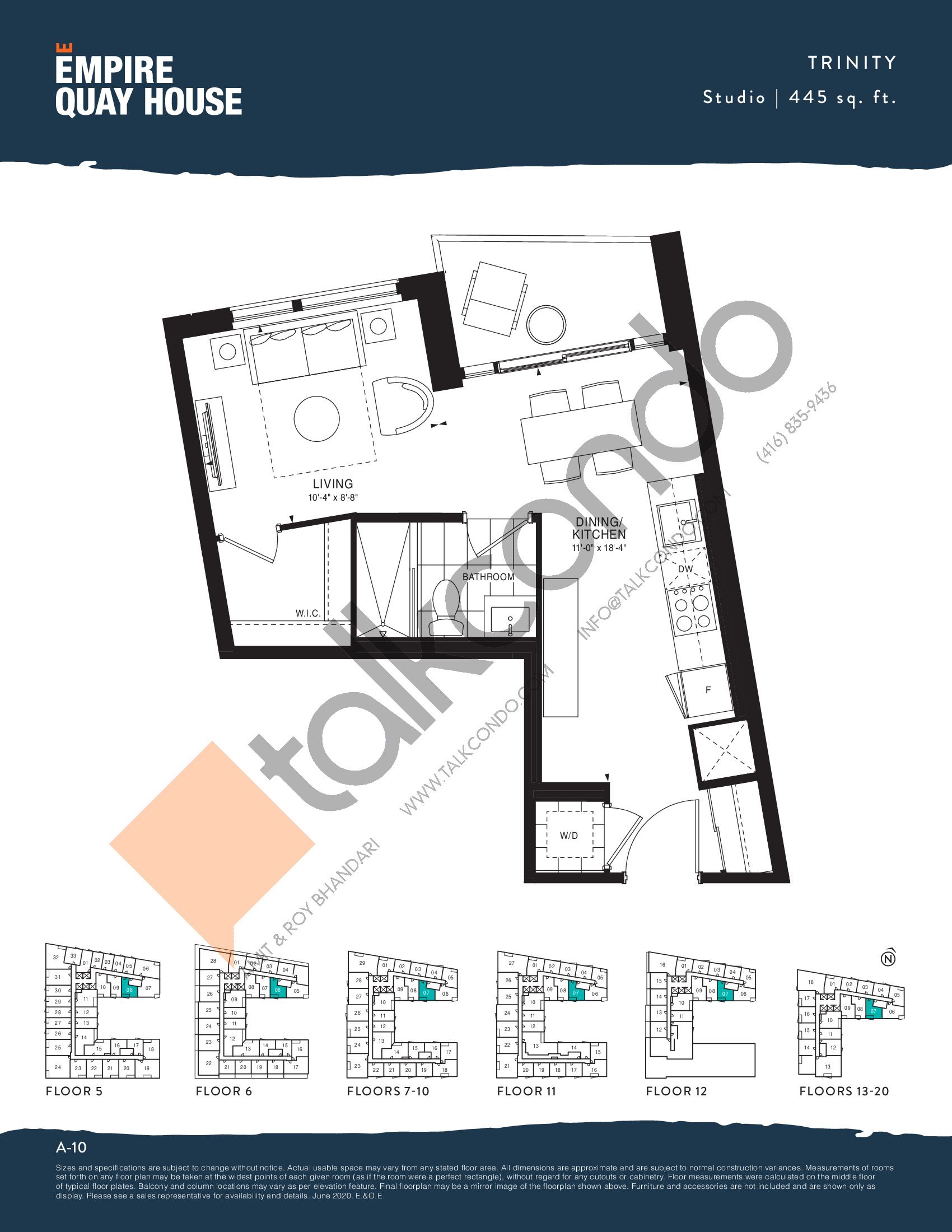 Trinity Floor Plan at Empire Quay House Condos - 445 sq.ft