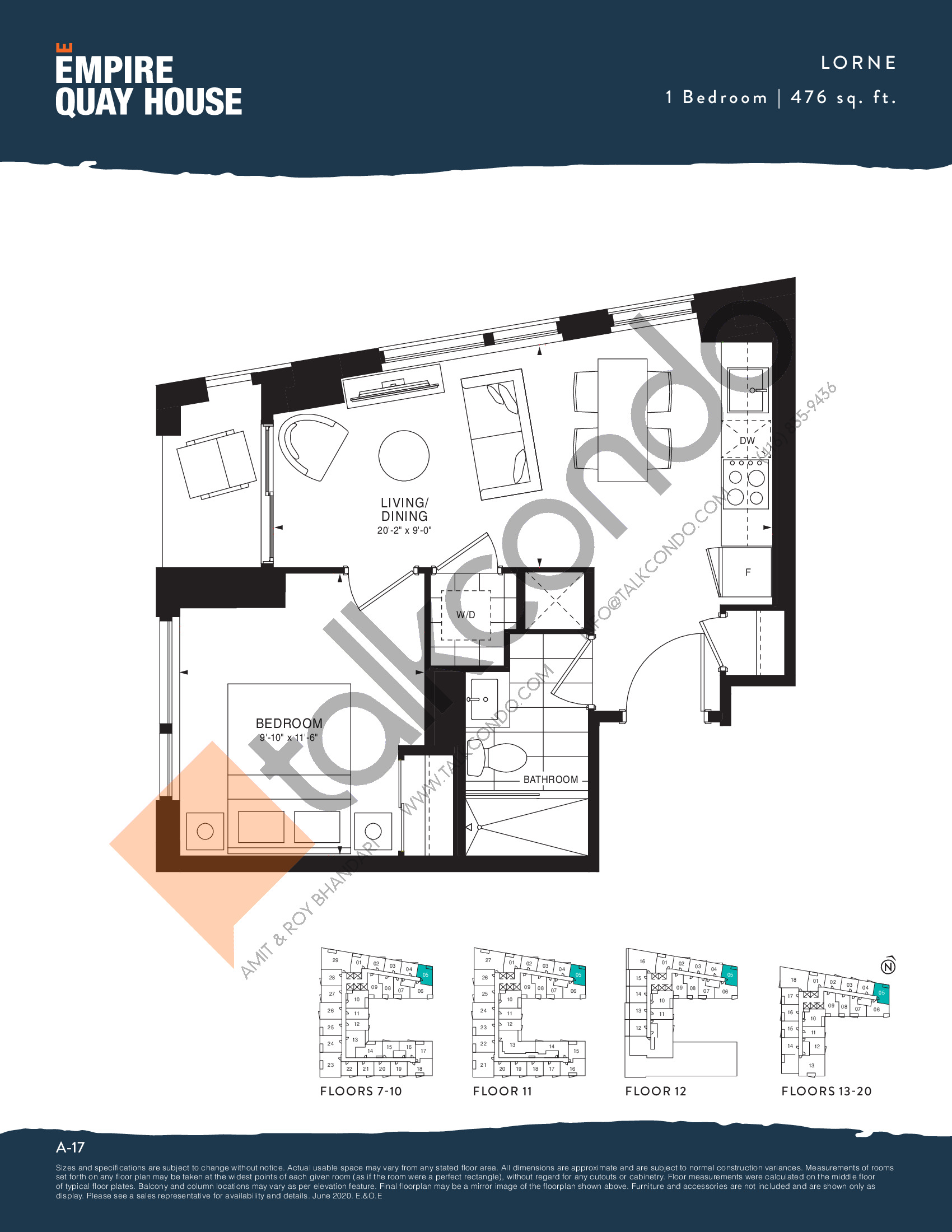 Lorne Floor Plan at Empire Quay House Condos - 476 sq.ft