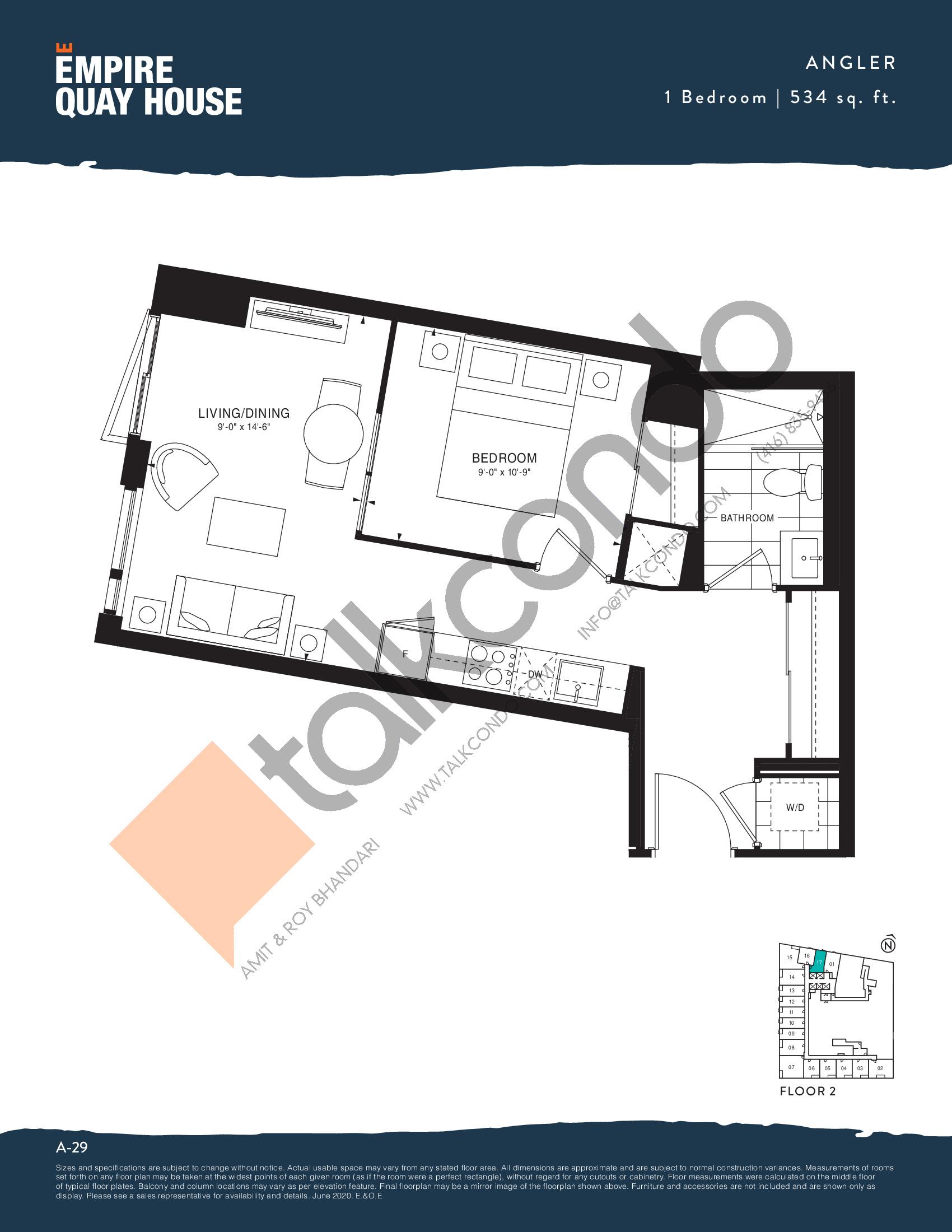 Angler Floor Plan at Empire Quay House Condos - 534 sq.ft