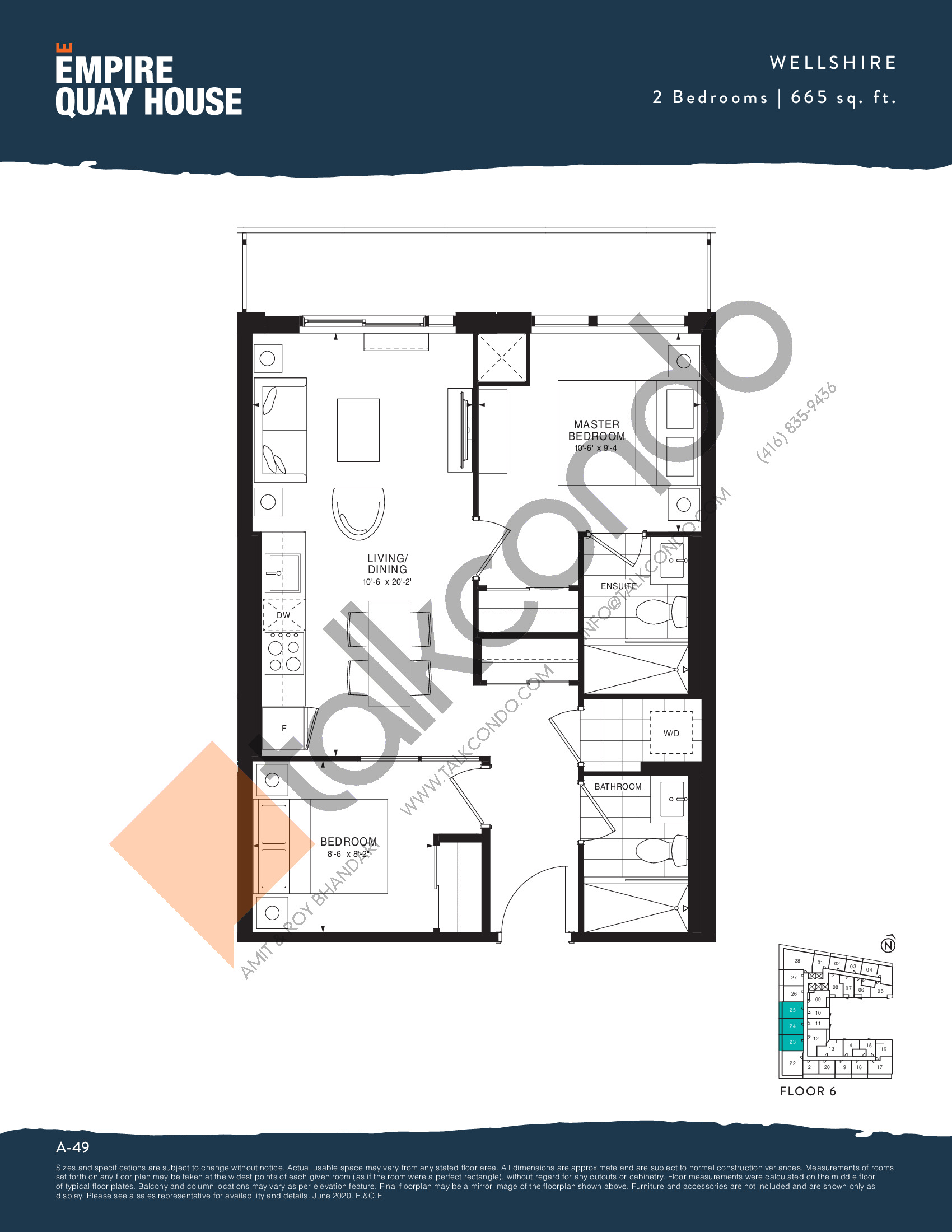 Wellshire Floor Plan at Empire Quay House Condos - 665 sq.ft