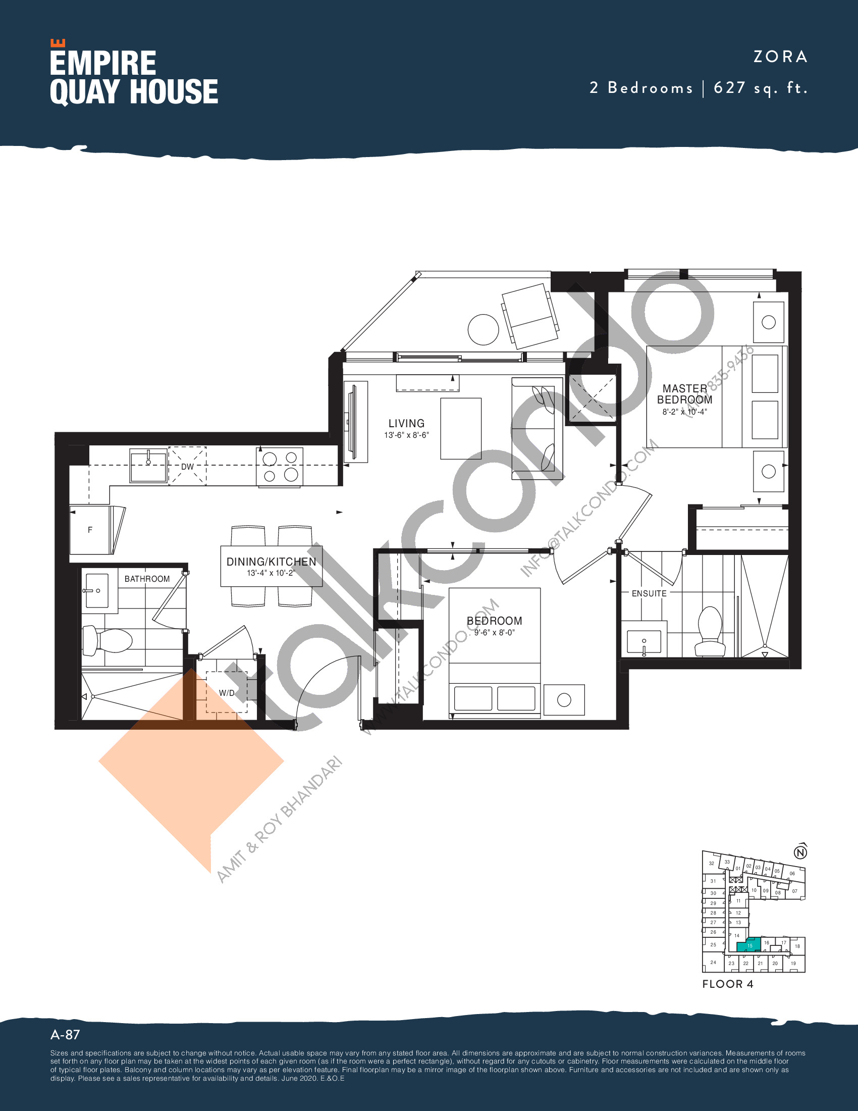 Zora Floor Plan at Empire Quay House Condos - 627 sq.ft