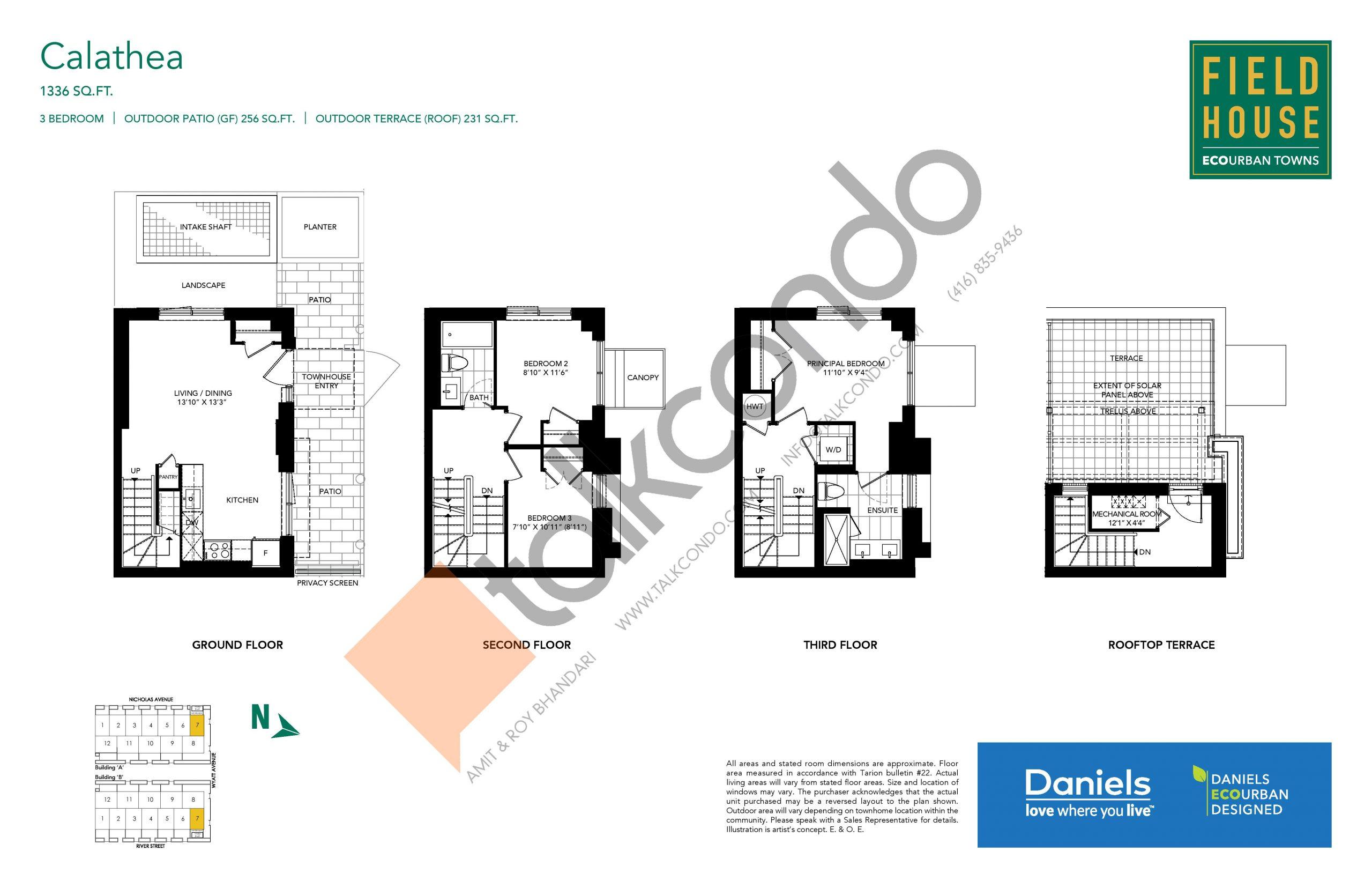 Calathea Floor Plan at Field House Towns - 1336 sq.ft