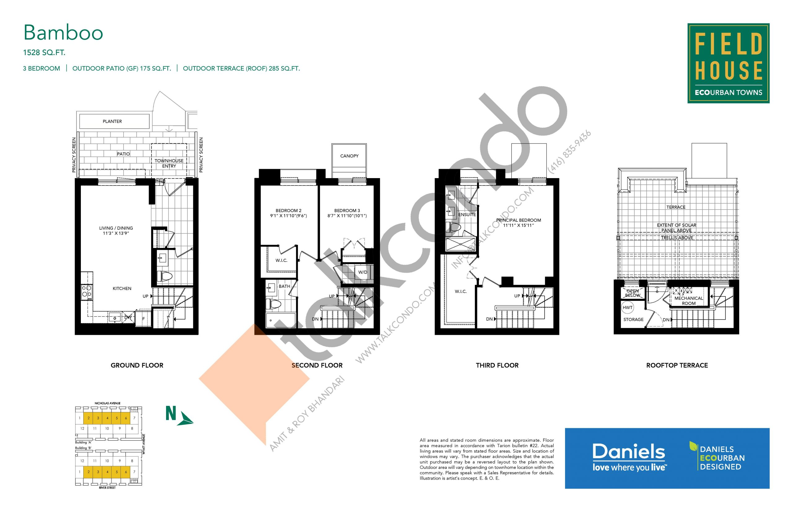 Bamboo Floor Plan at Field House Towns - 1528 sq.ft