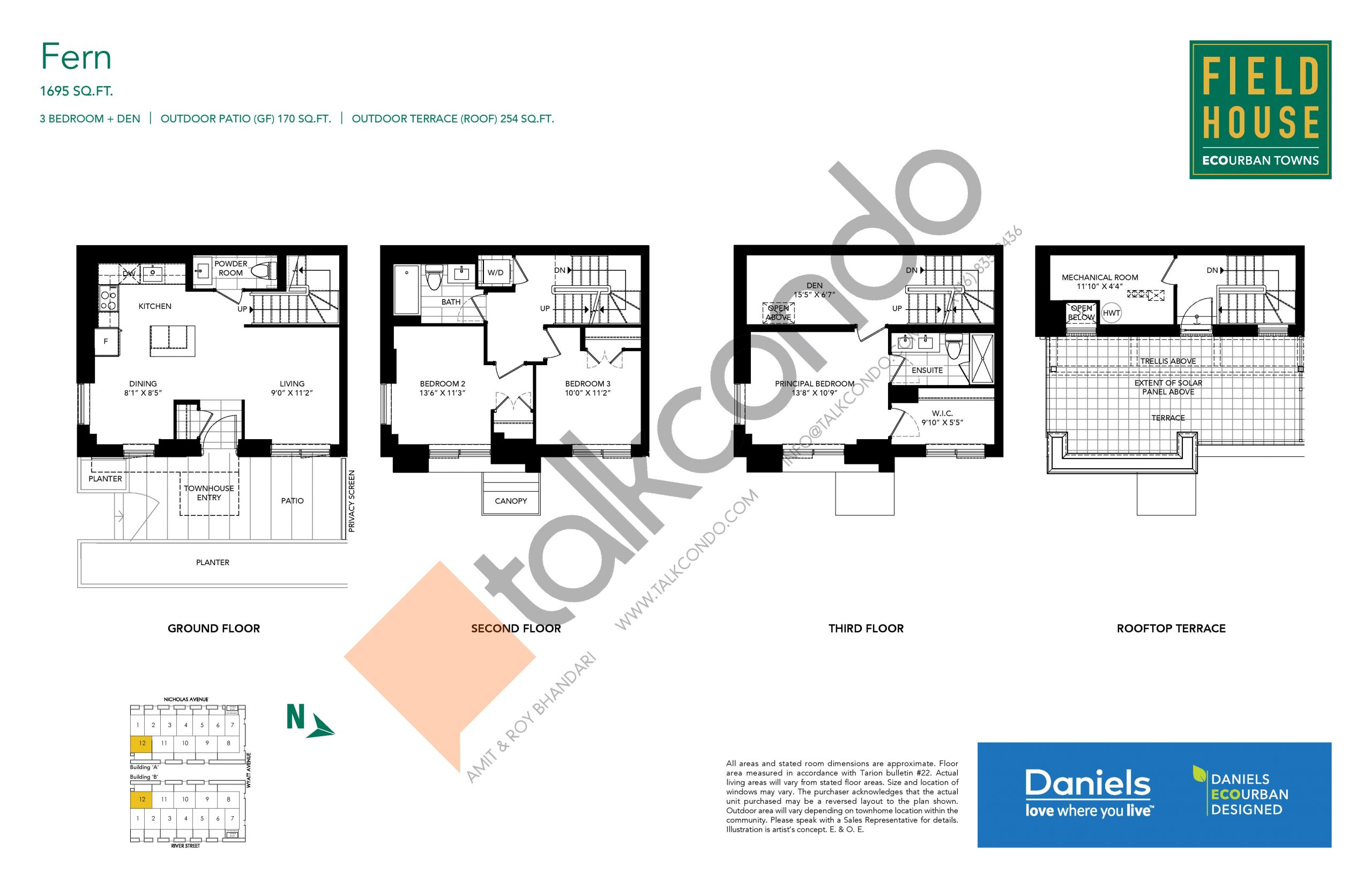 Fern Floor Plan at Field House Towns - 1695 sq.ft