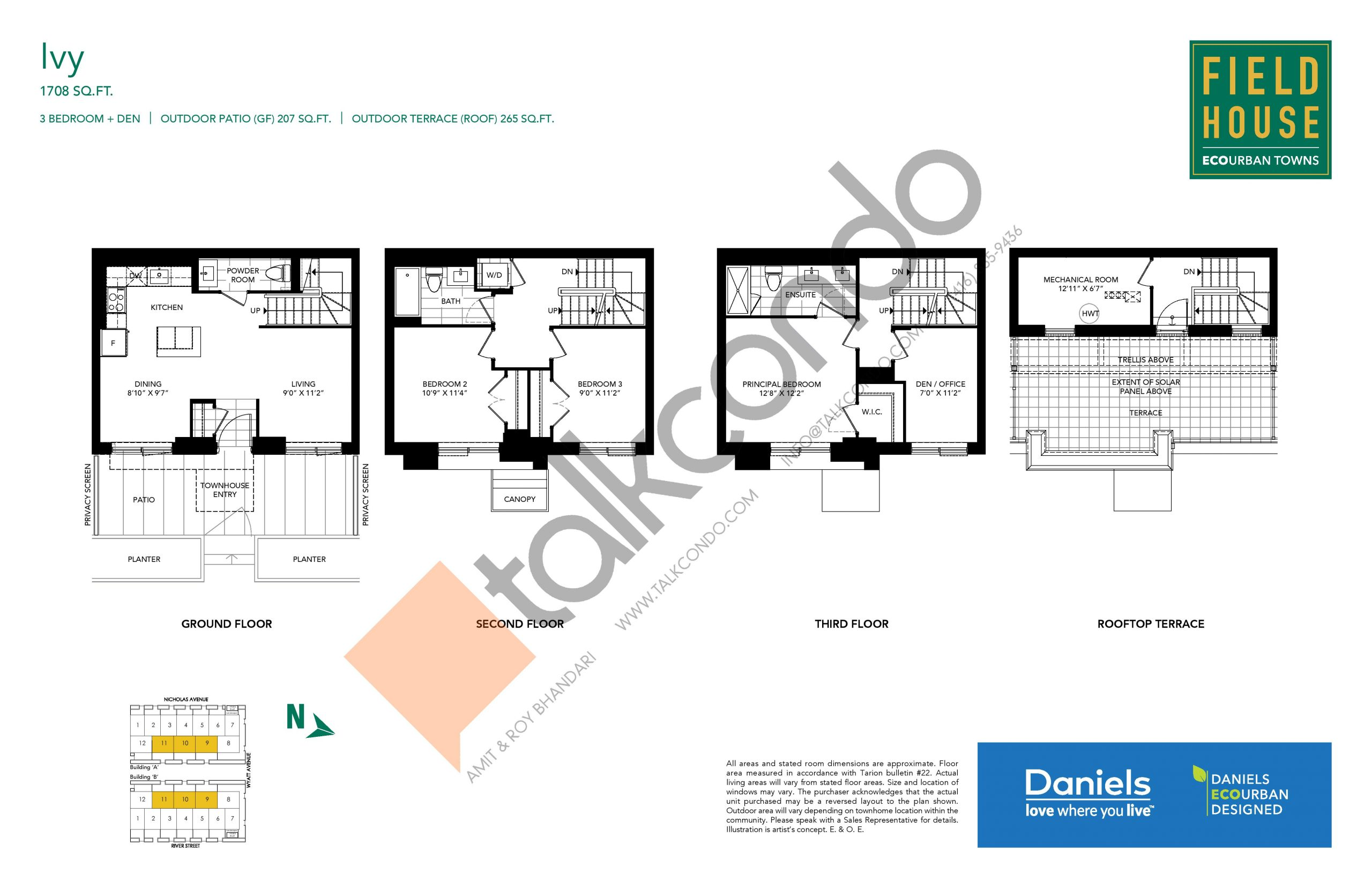 Ivy Floor Plan at Field House Towns - 1708 sq.ft