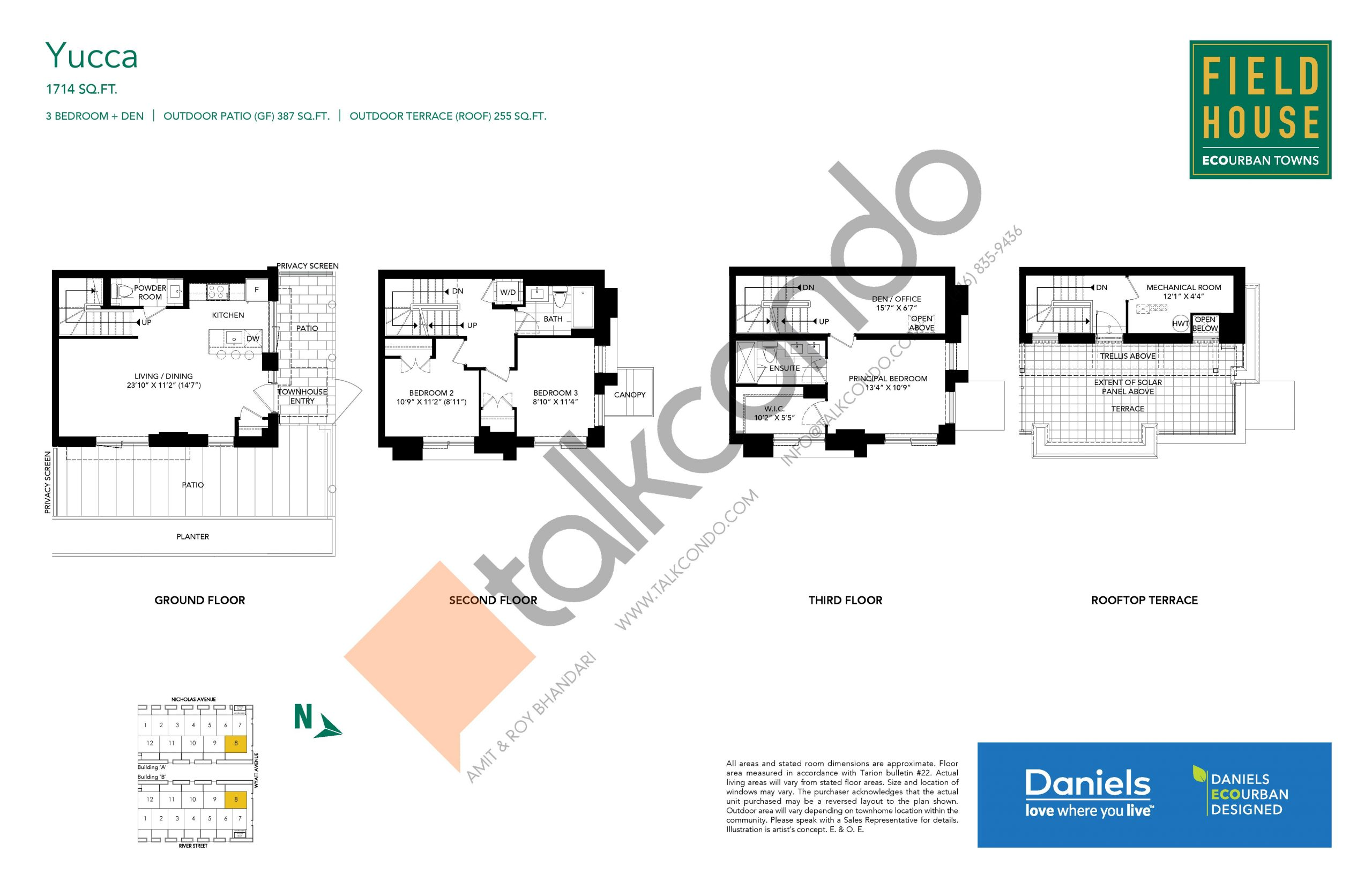 Yucca Floor Plan at Field House Towns - 1714 sq.ft