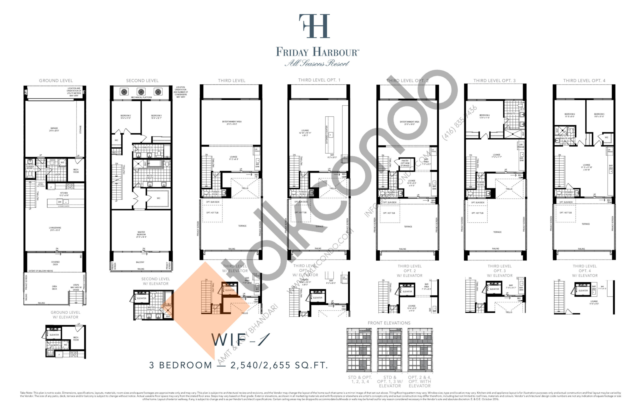 WIF - 1 (Ferretti Towns) Floor Plan at Friday Harbour Resort Condos - 2540 sq.ft