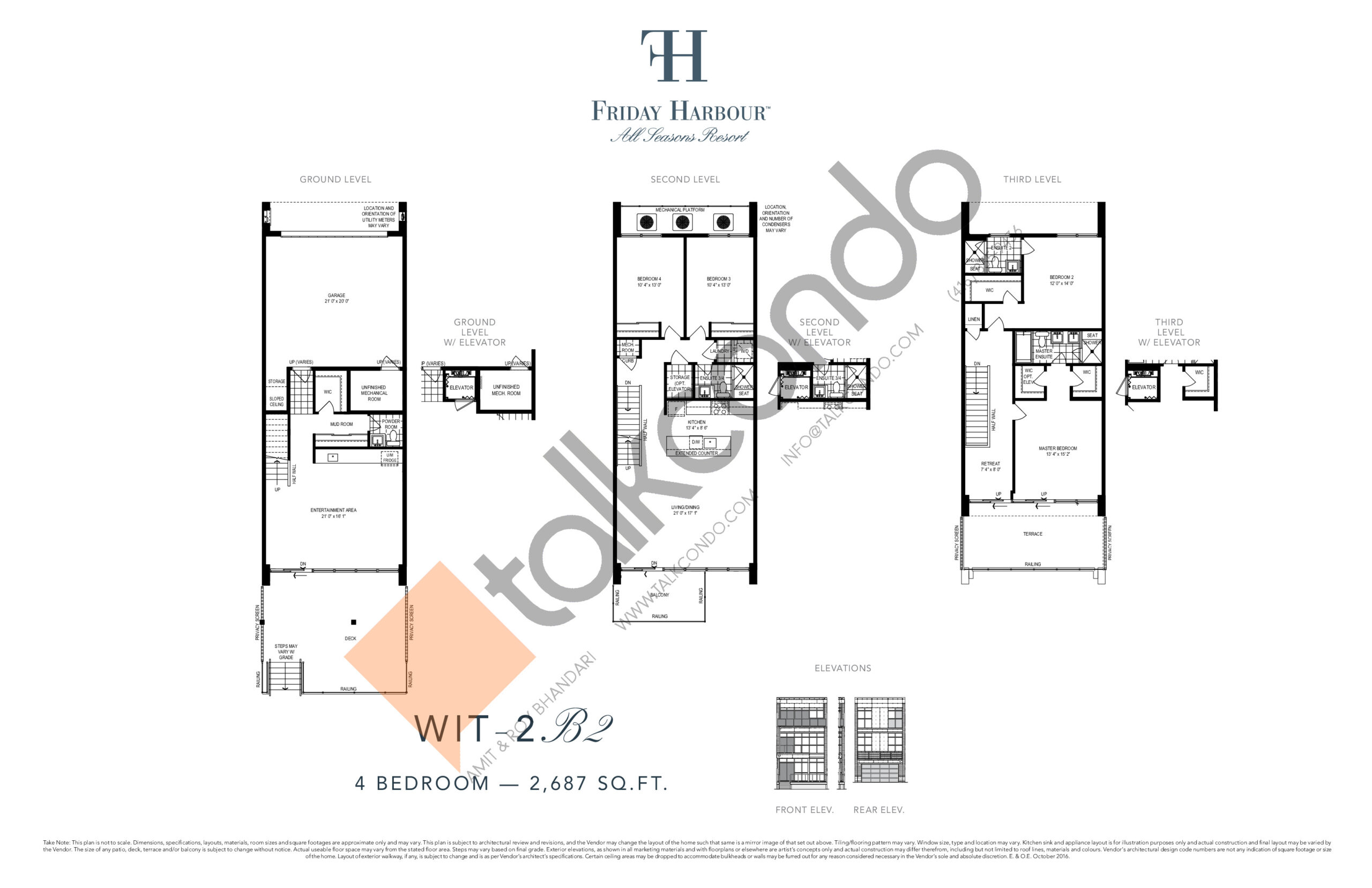 WIT- 2B2 (Ferretti Towns) Floor Plan at Friday Harbour Resort Condos - 2687 sq.ft