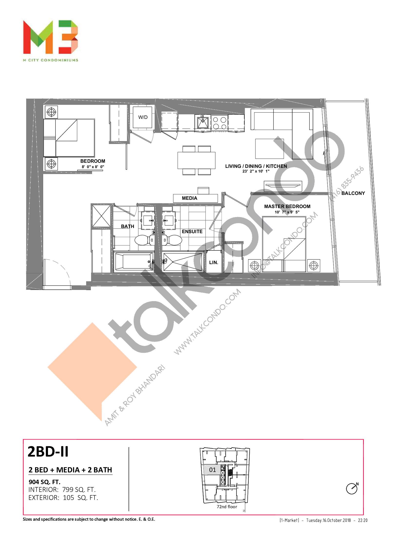 2BD-II Floor Plan at M3 Condos - 799 sq.ft