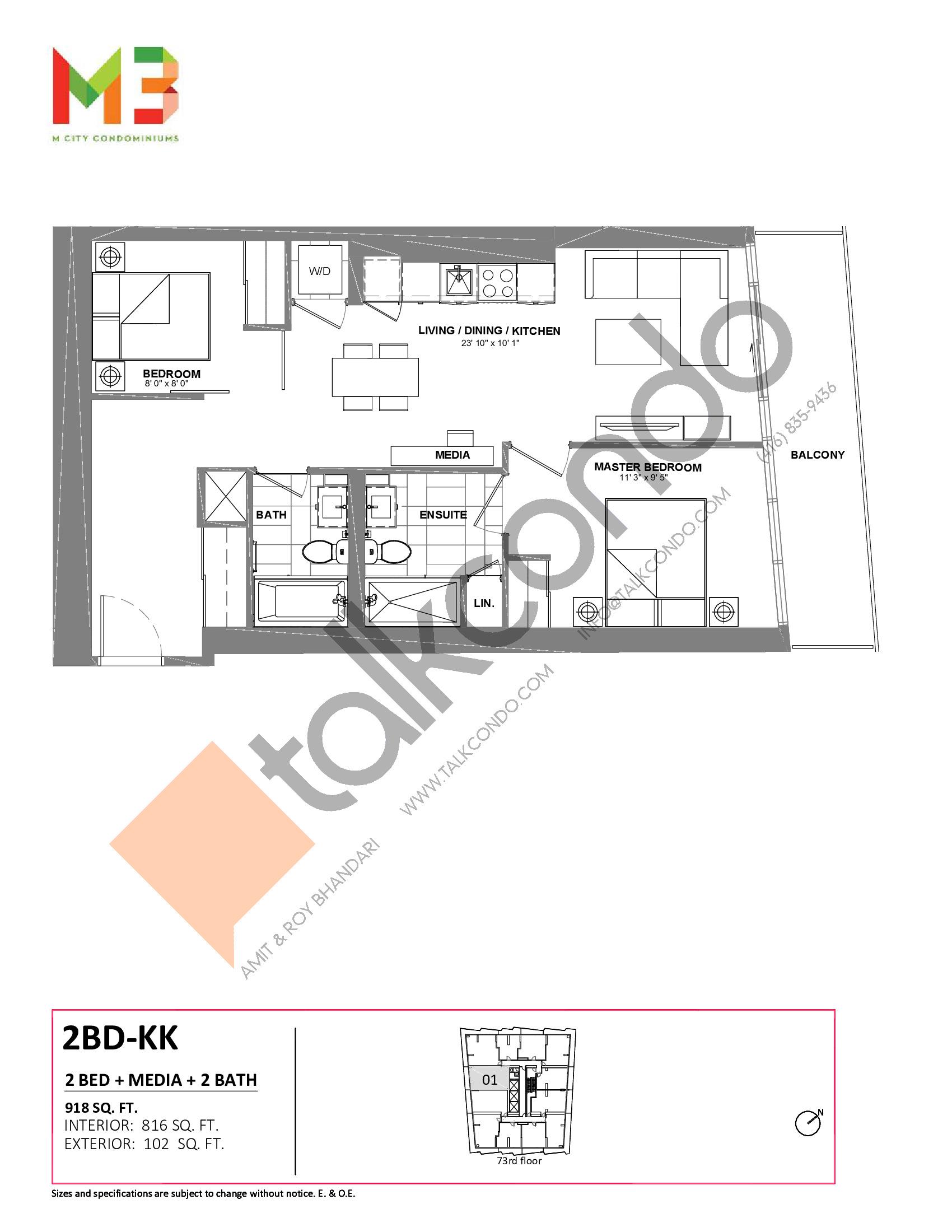 2BD-KK Floor Plan at M3 Condos - 816 sq.ft