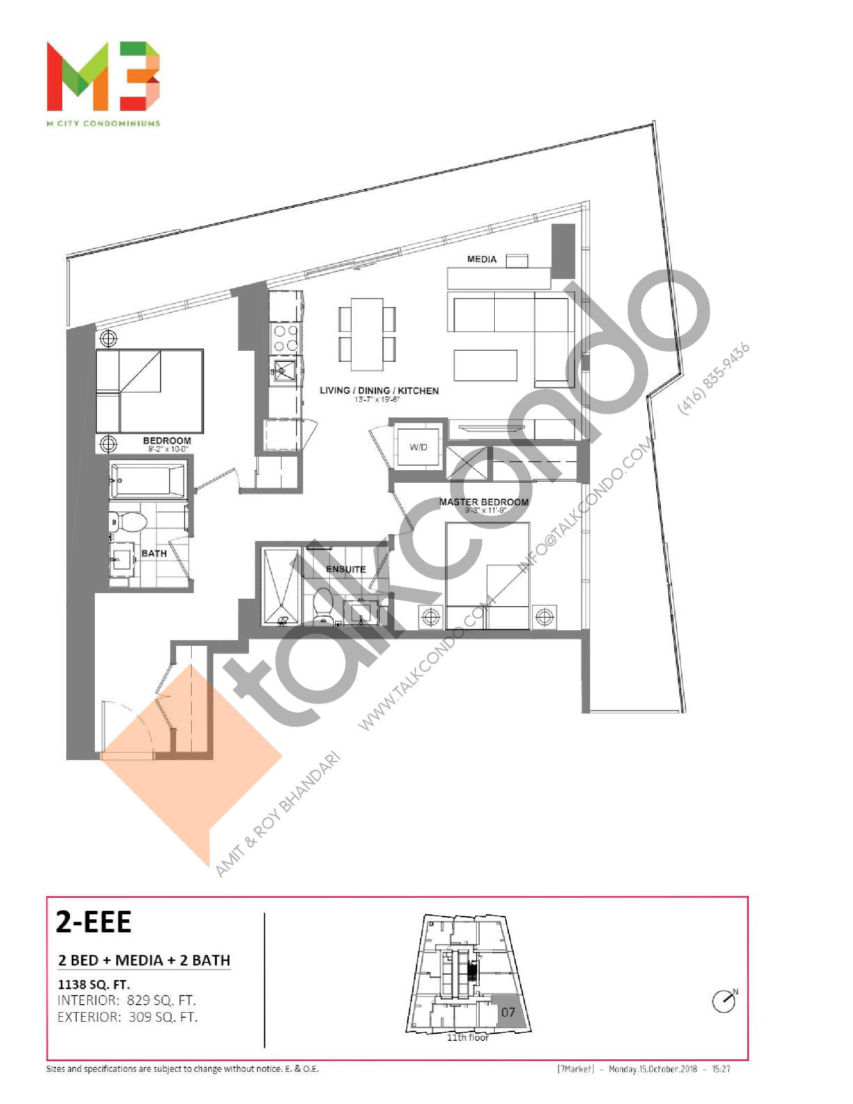 2-EEE Floor Plan at M3 Condos - 829 sq.ft