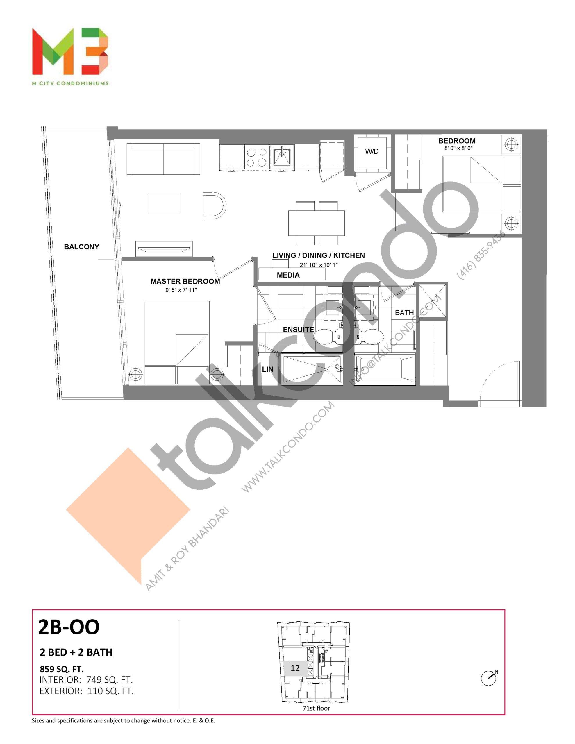 2B-OO Floor Plan at M3 Condos - 749 sq.ft