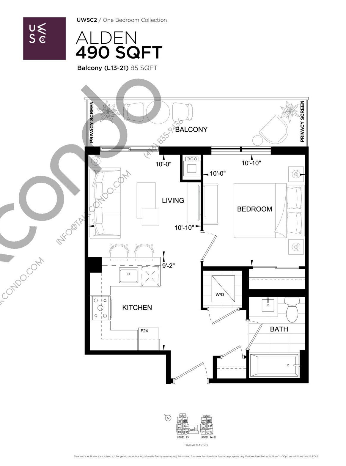 Alden Floor Plan at Upper West Side Condos 2 - 490 sq.ft