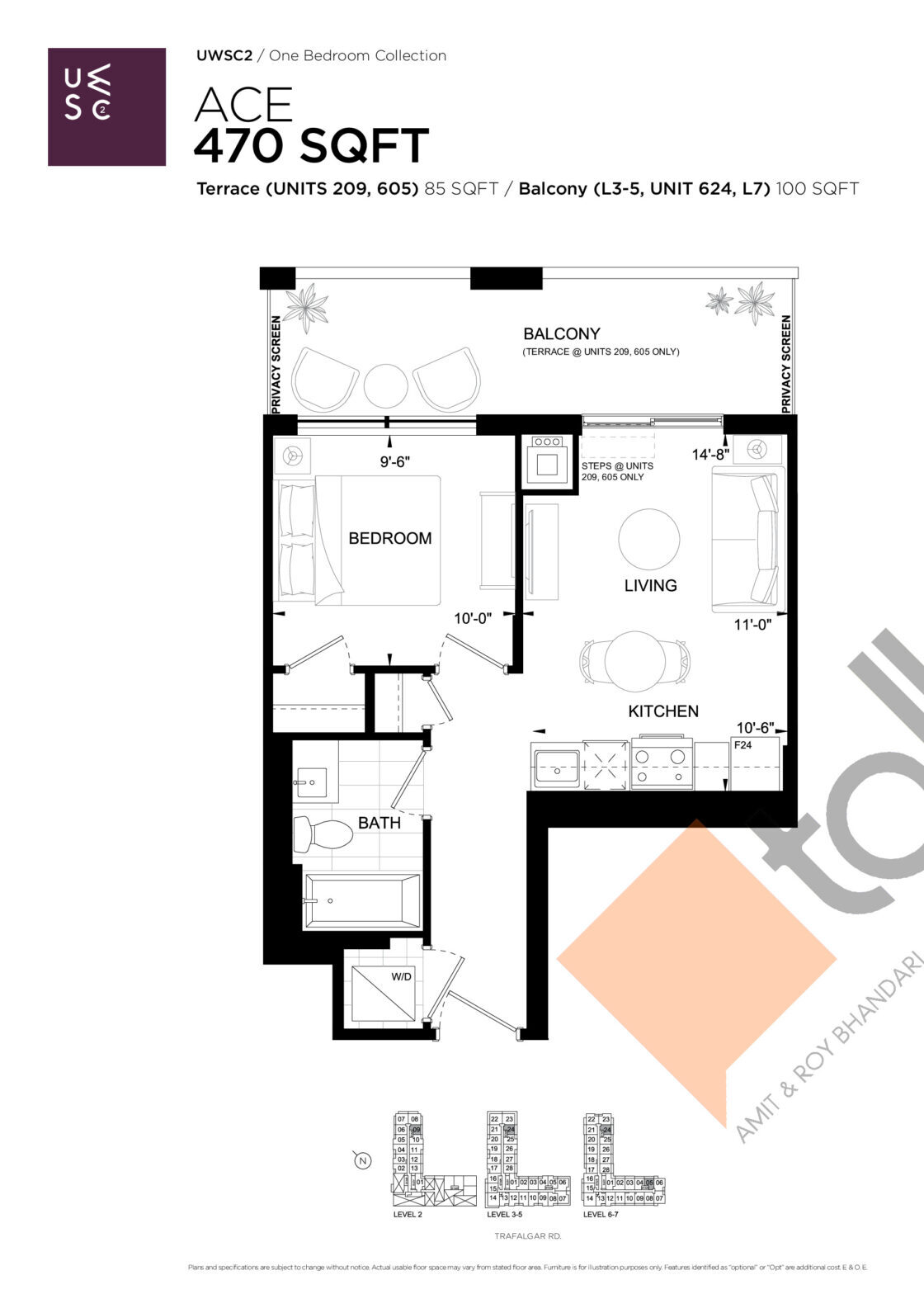Ace Floor Plan at Upper West Side Condos 2 - 470 sq.ft