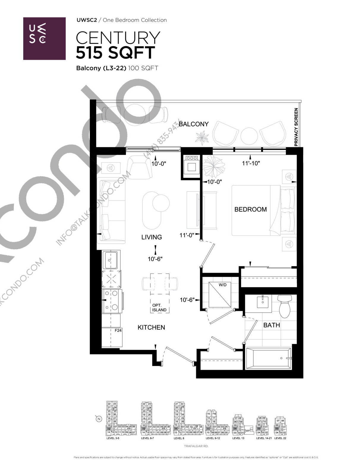 Century Floor Plan at Upper West Side Condos 2 - 515 sq.ft