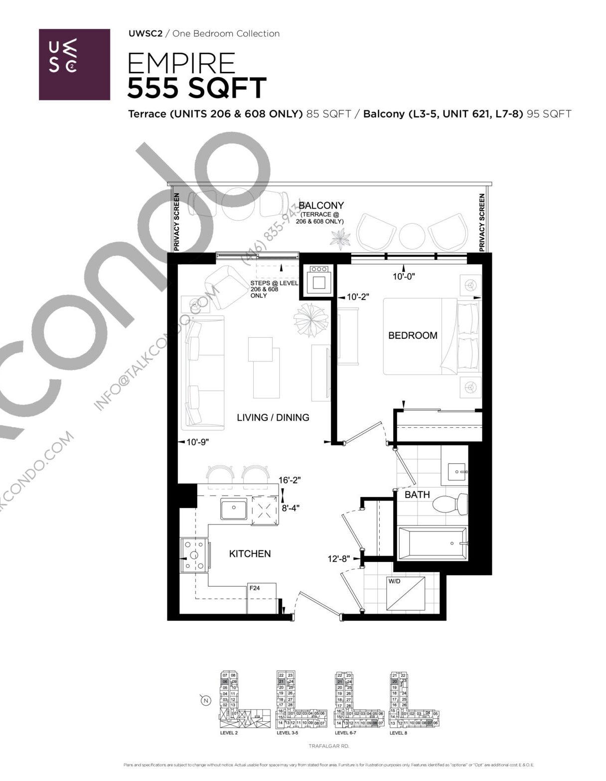 Empire Floor Plan at Upper West Side Condos 2 - 555 sq.ft