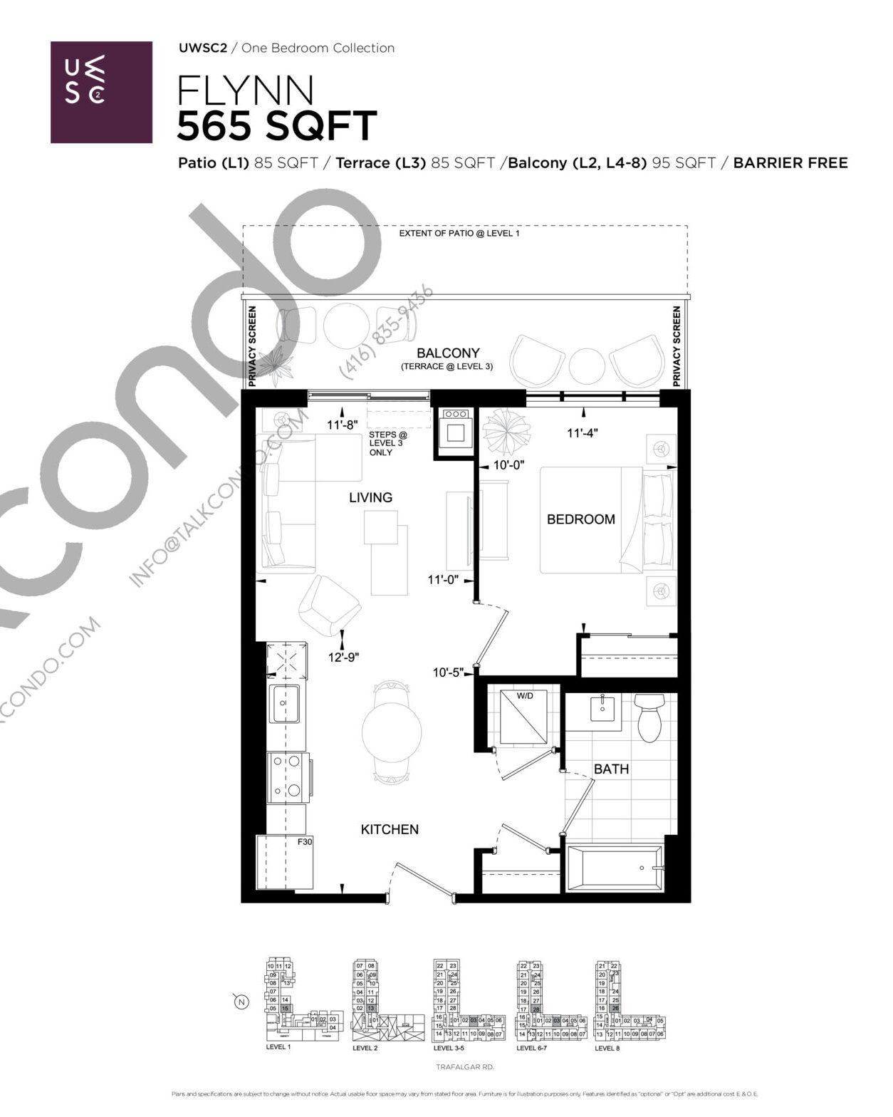 Flynn Floor Plan at Upper West Side Condos 2 - 565 sq.ft