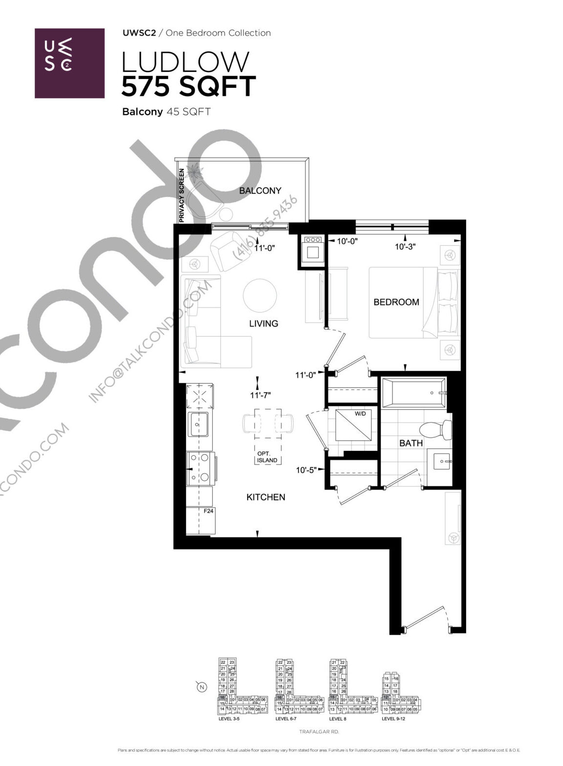 Ludlow Floor Plan at Upper West Side Condos 2 - 575 sq.ft