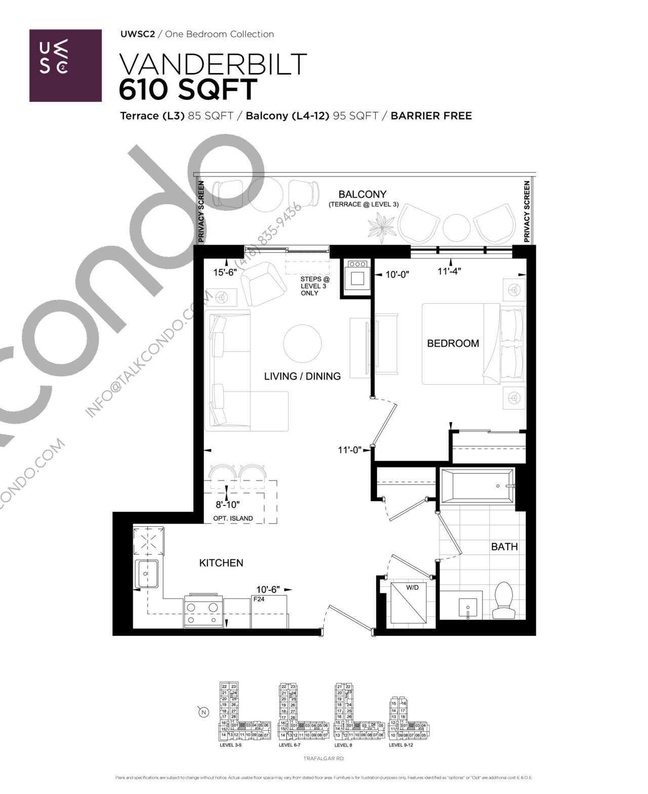 Vanderbilt Floor Plan at Upper West Side Condos 2 - 610 sq.ft