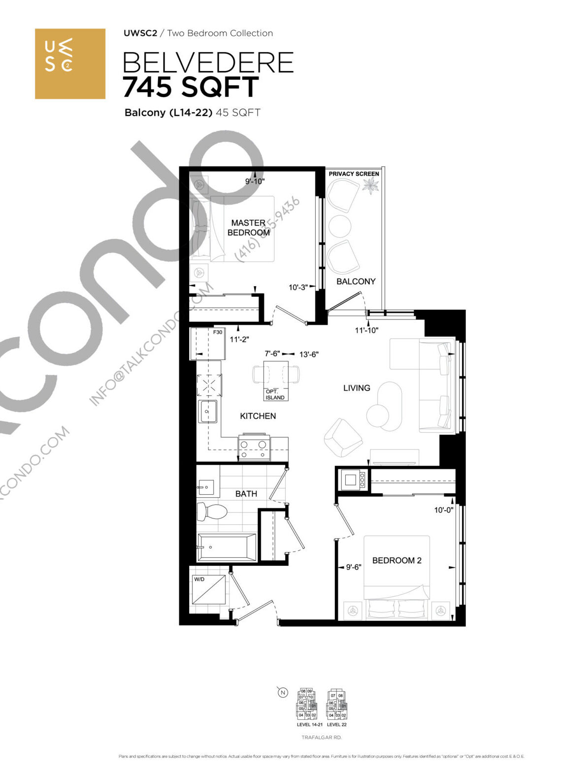 Belvedere Floor Plan at Upper West Side Condos 2 - 745 sq.ft