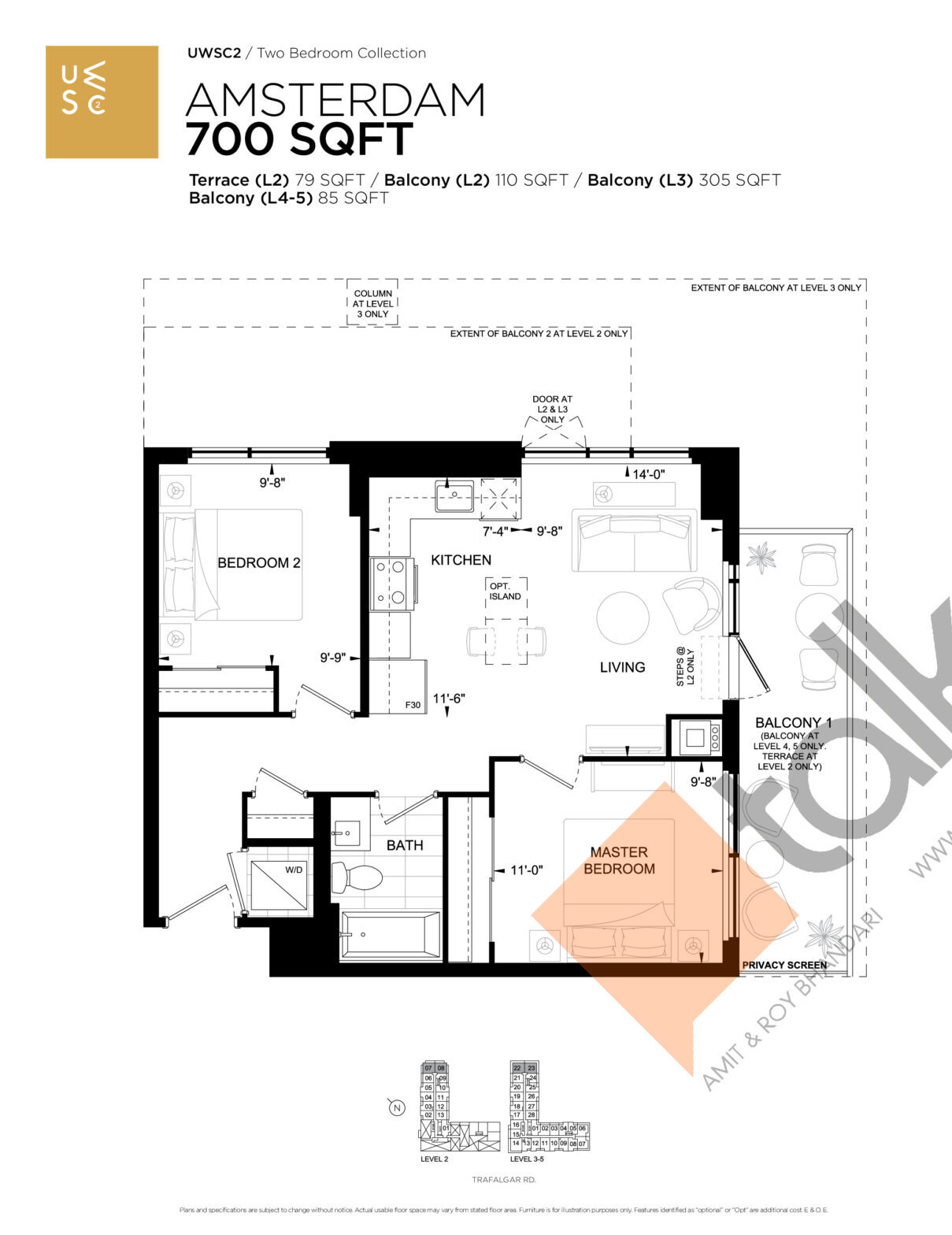 Amsterdam Floor Plan at Upper West Side Condos 2 - 700 sq.ft