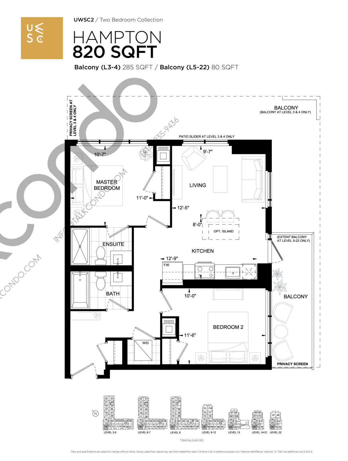 Hampton Floor Plan at Upper West Side Condos 2 - 820 sq.ft