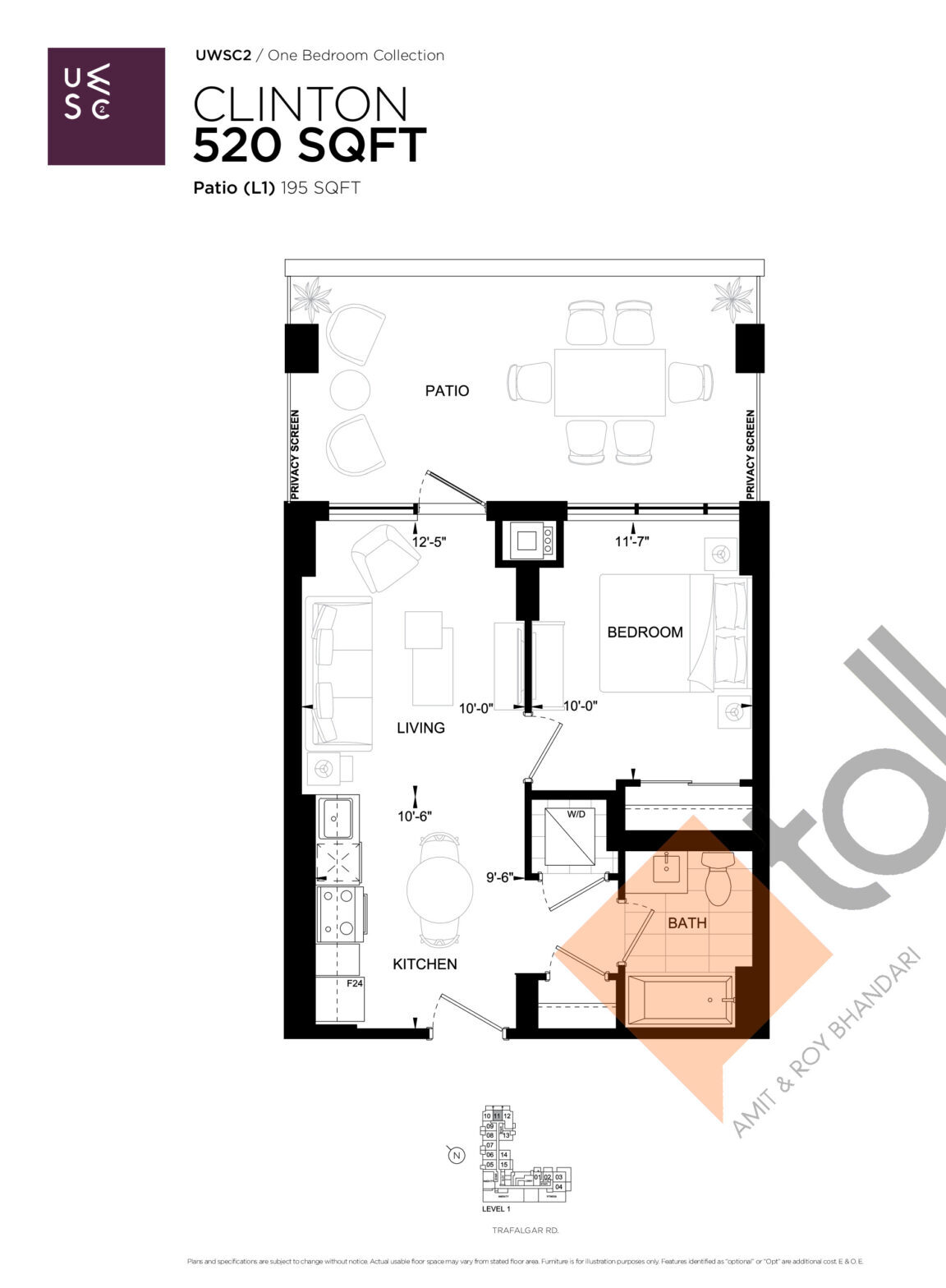 Clinton Floor Plan at Upper West Side Condos 2 - 520 sq.ft
