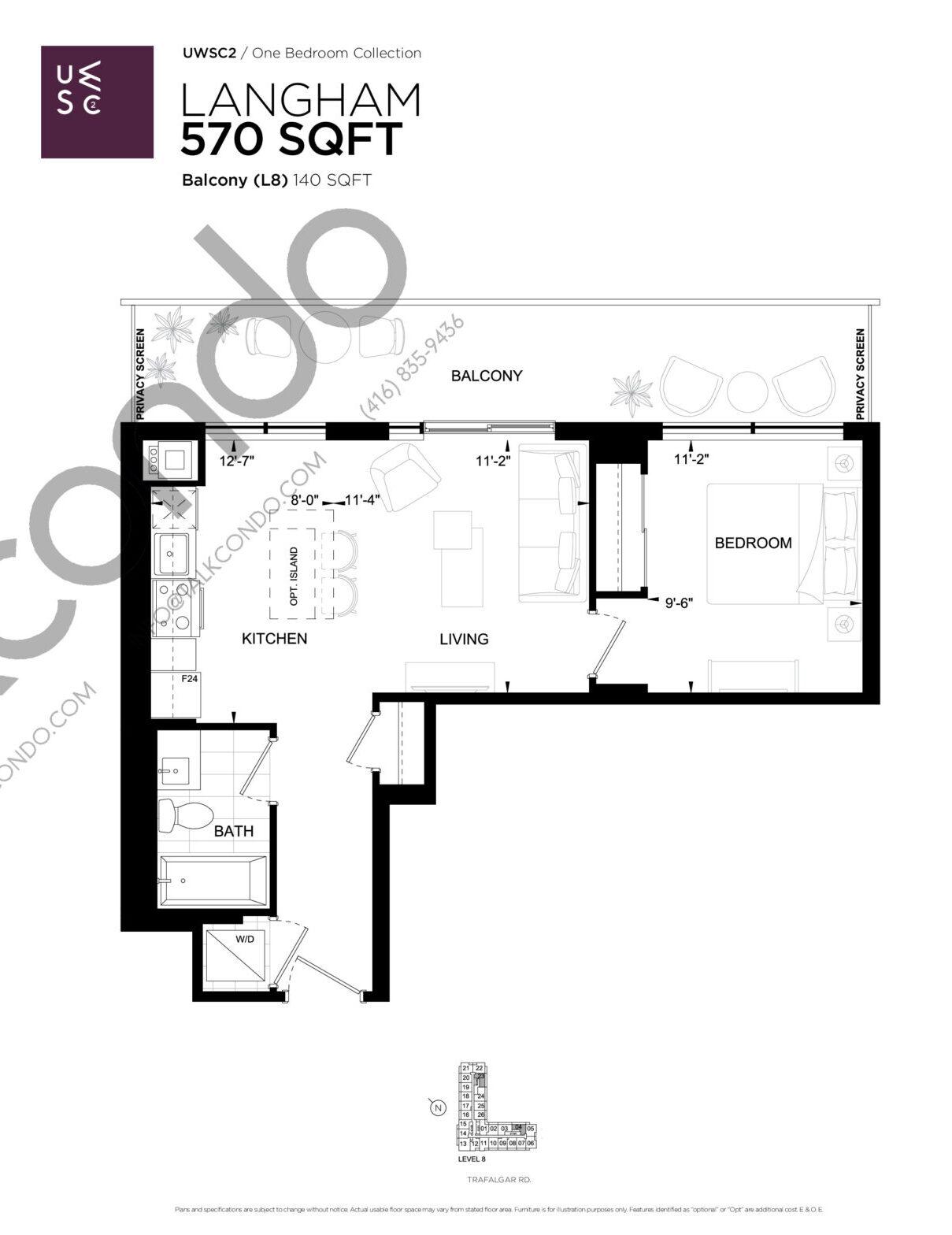 Langham Floor Plan at Upper West Side Condos 2 - 570 sq.ft