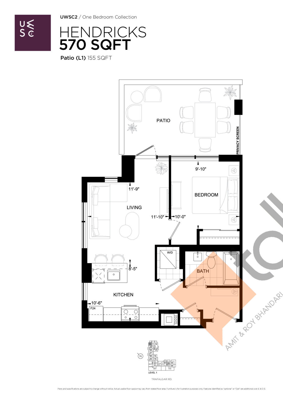 Hendricks Floor Plan at Upper West Side Condos 2 - 570 sq.ft