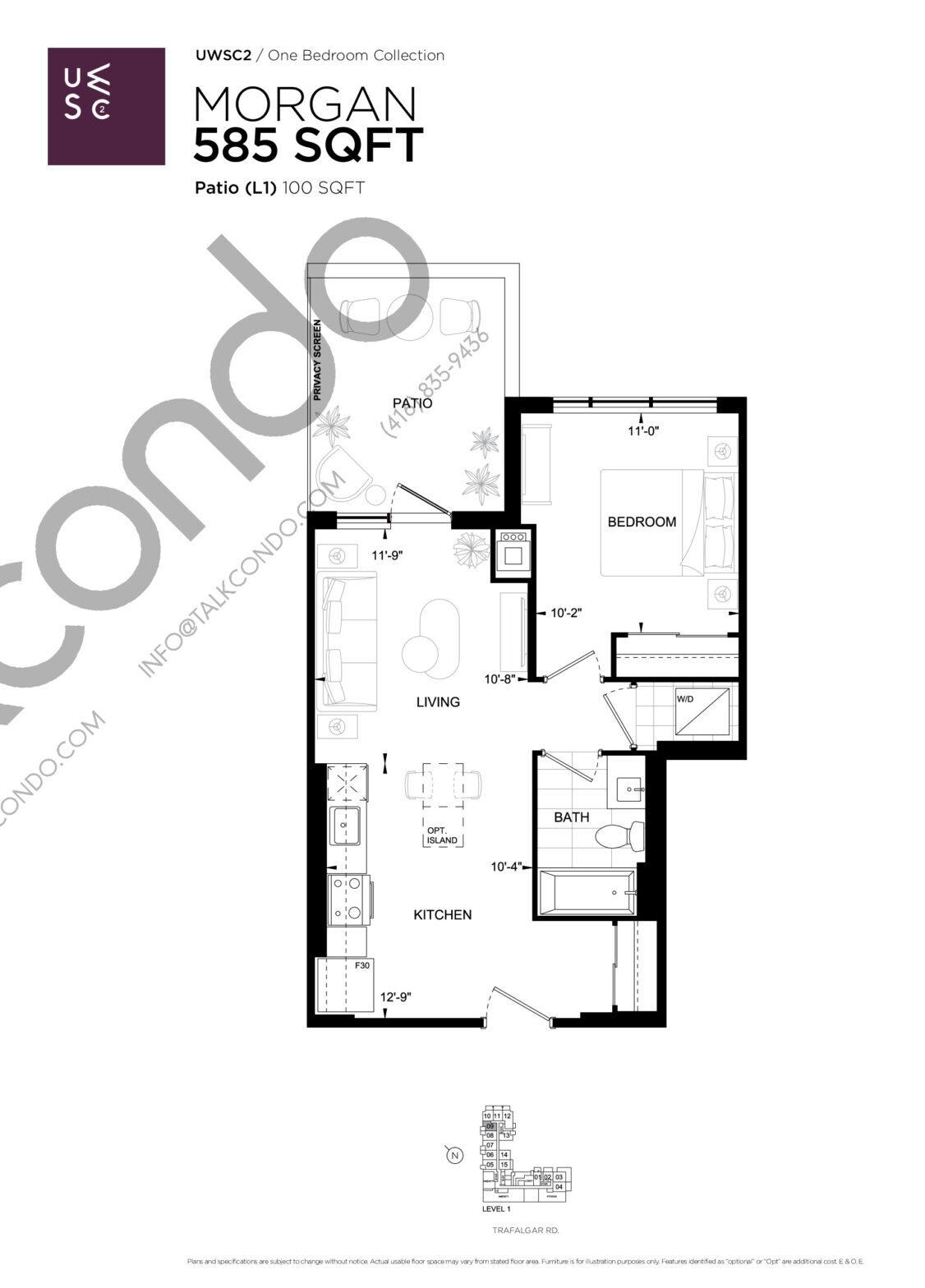 Morgan Floor Plan at Upper West Side Condos 2 - 585 sq.ft