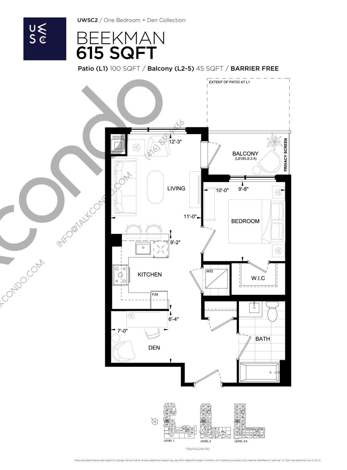 Beekman Floor Plan at Upper West Side Condos 2 - 615 sq.ft