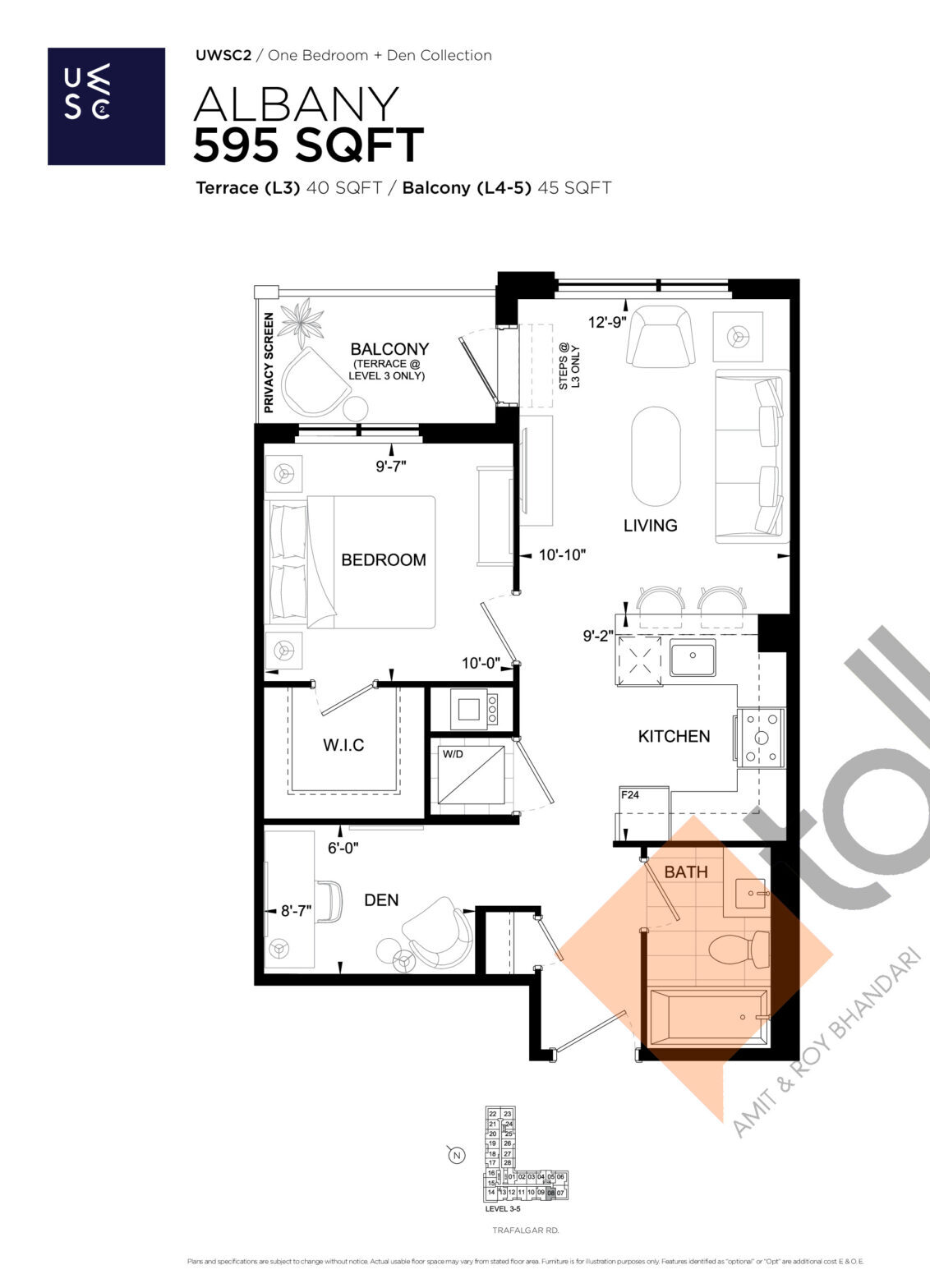 Albany Floor Plan at Upper West Side Condos 2 - 595 sq.ft