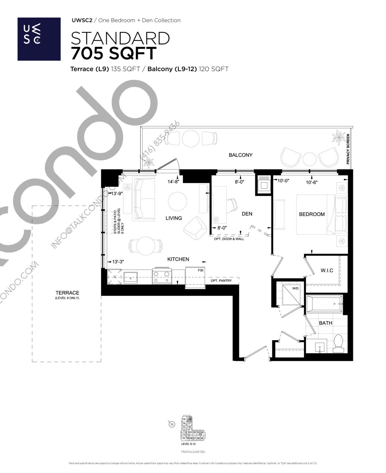 Standard Floor Plan at Upper West Side Condos 2 - 705 sq.ft