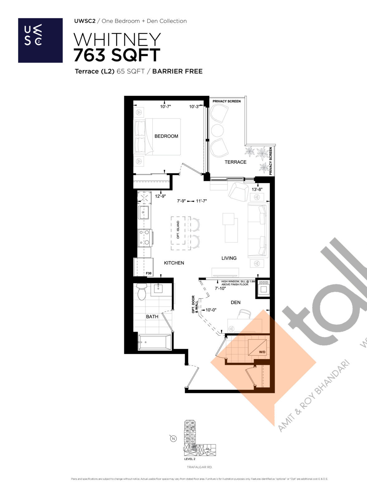 Whitney Floor Plan at Upper West Side Condos 2 - 763 sq.ft