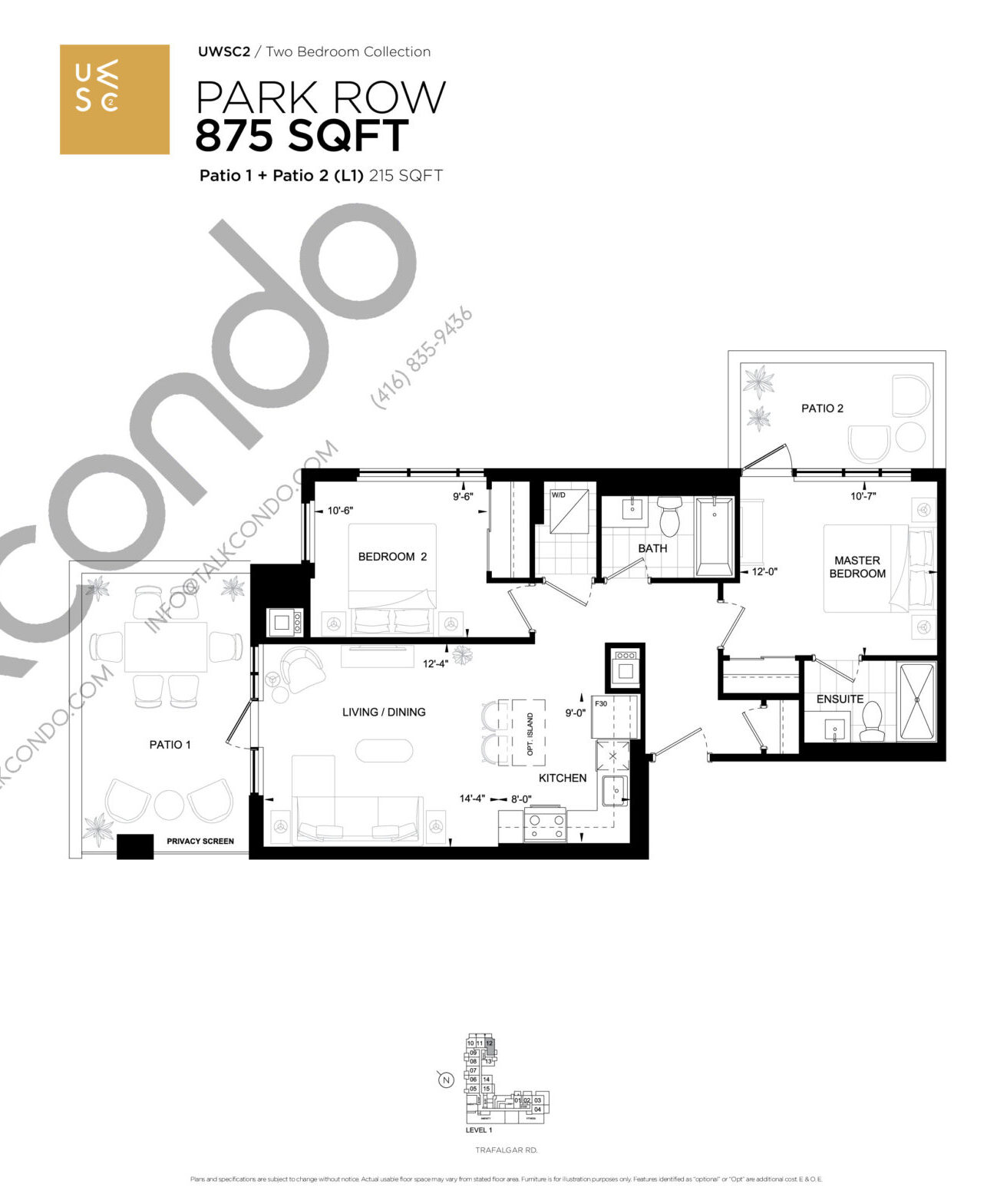 Park Row Floor Plan at Upper West Side Condos 2 - 875 sq.ft