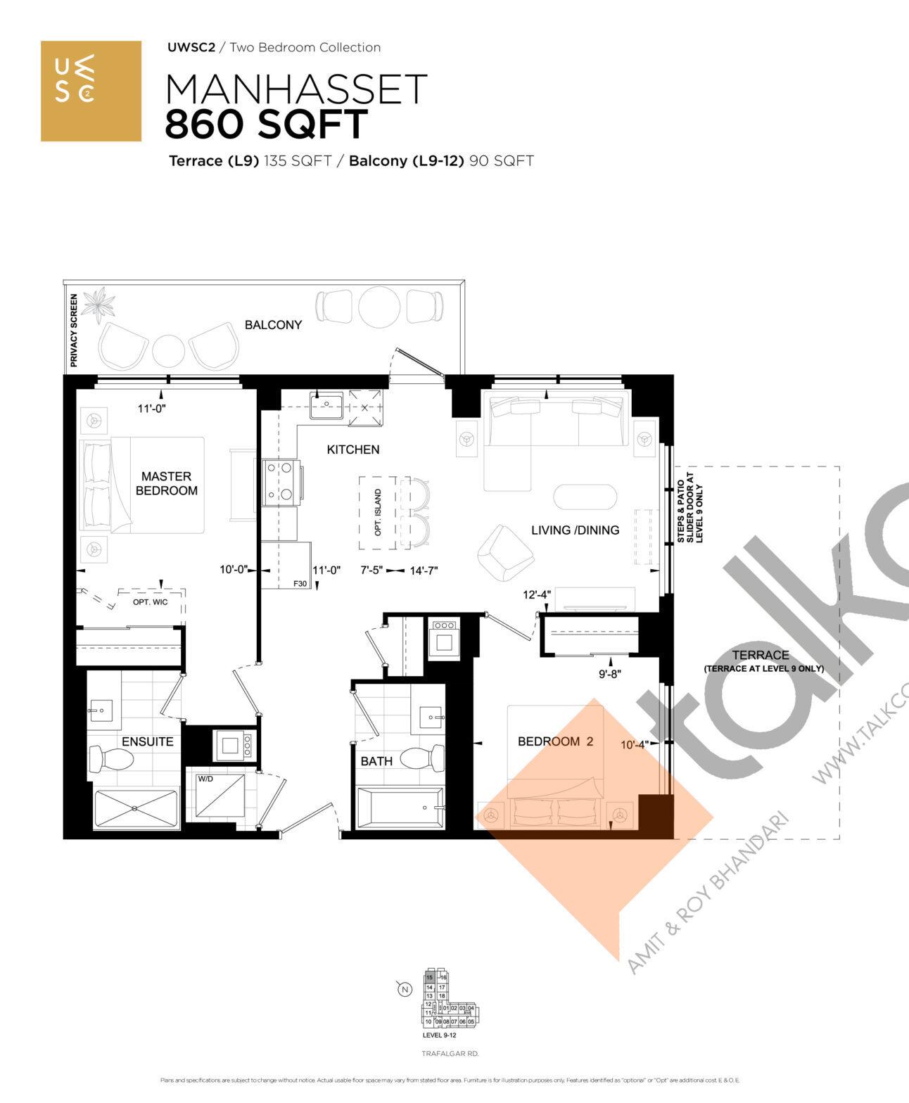 Manhasset Floor Plan at Upper West Side Condos 2 - 860 sq.ft