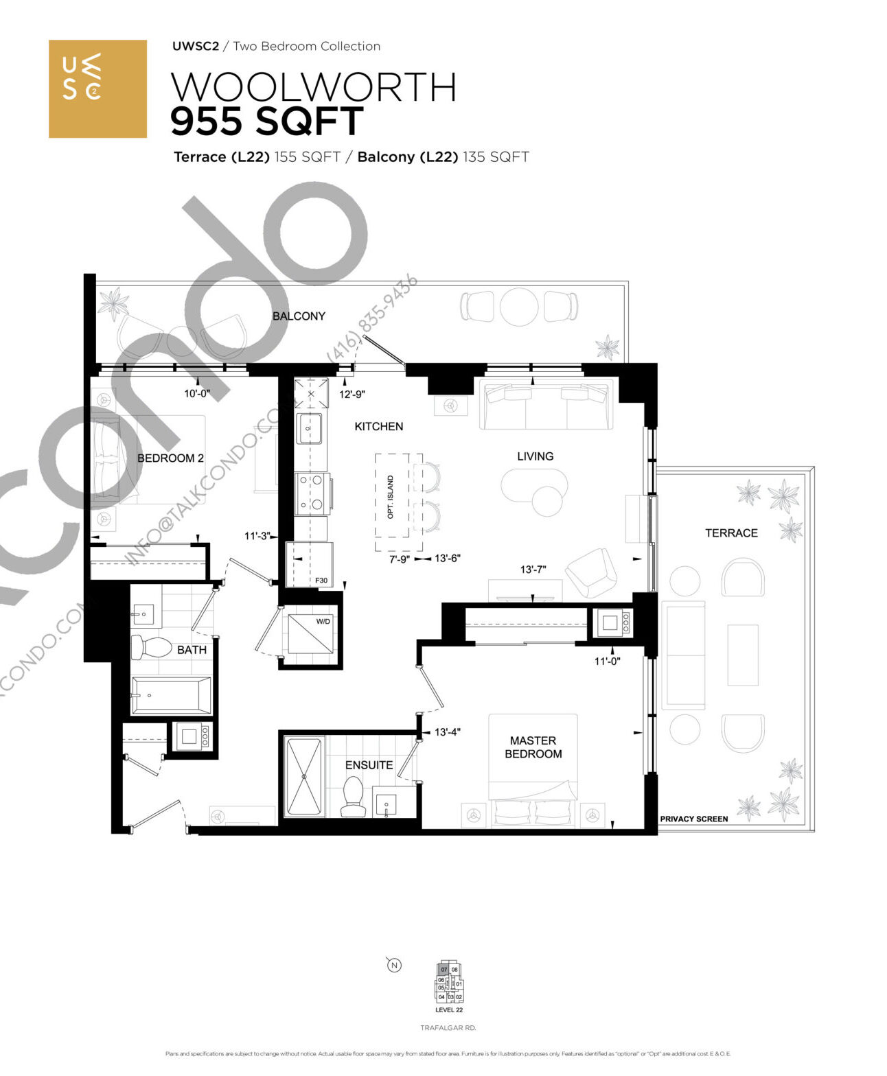Woolworth Floor Plan at Upper West Side Condos 2 - 955 sq.ft