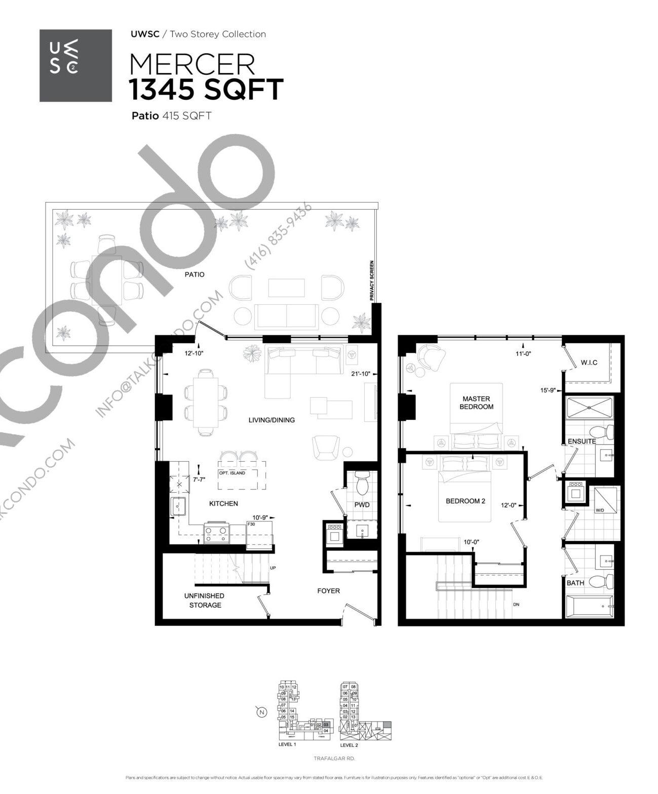 Mercer Floor Plan at Upper West Side Condos 2 - 1345 sq.ft
