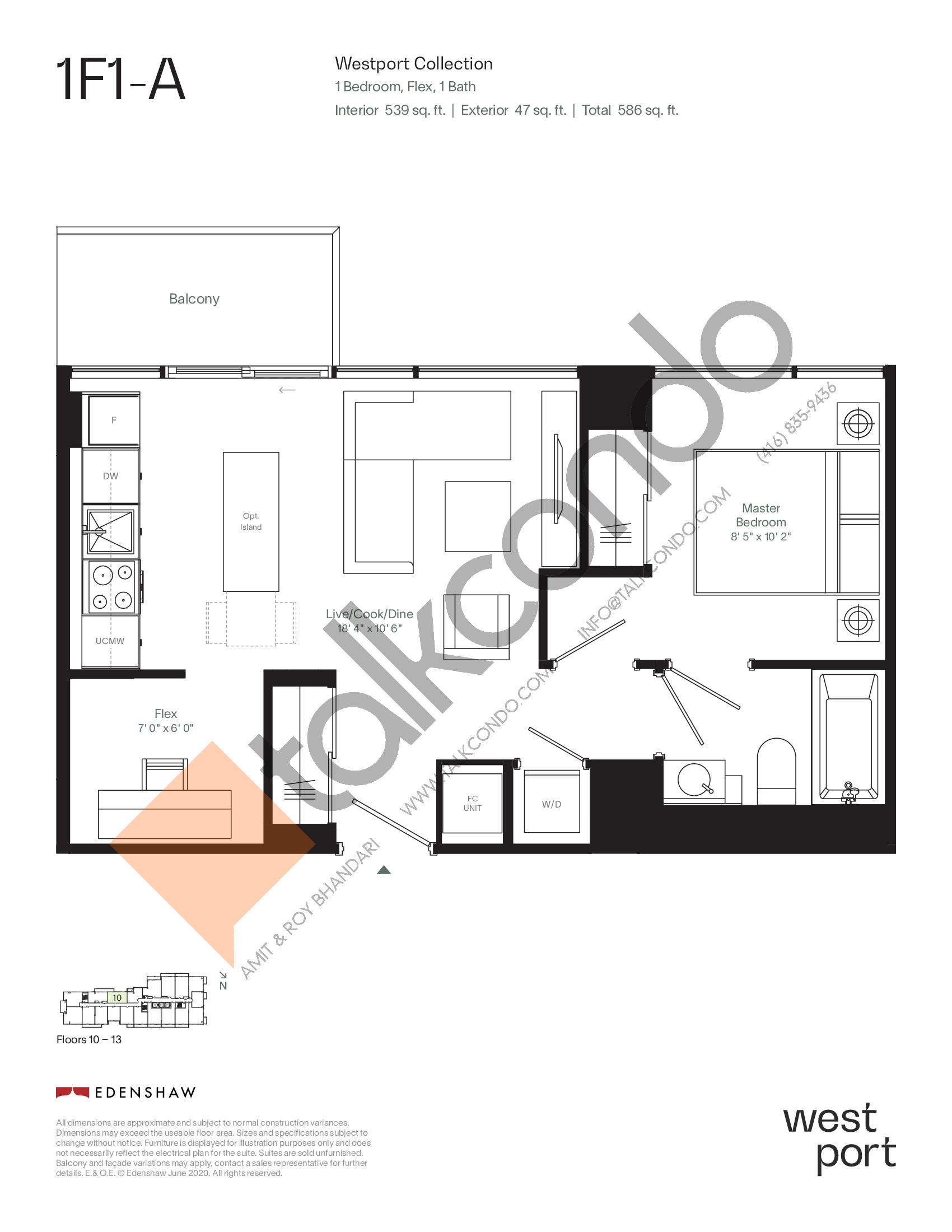 1F1-A - Westport Collection Floor Plan at Westport Condos - 539 sq.ft