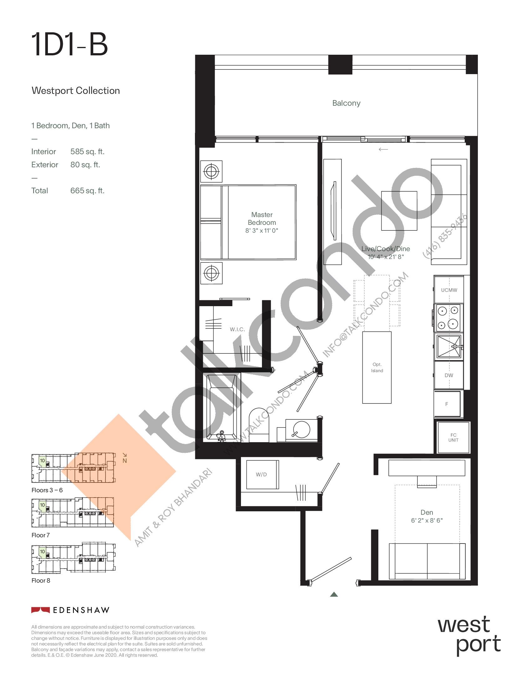 1D1-B - Westport Collection Floor Plan at Westport Condos - 585 sq.ft