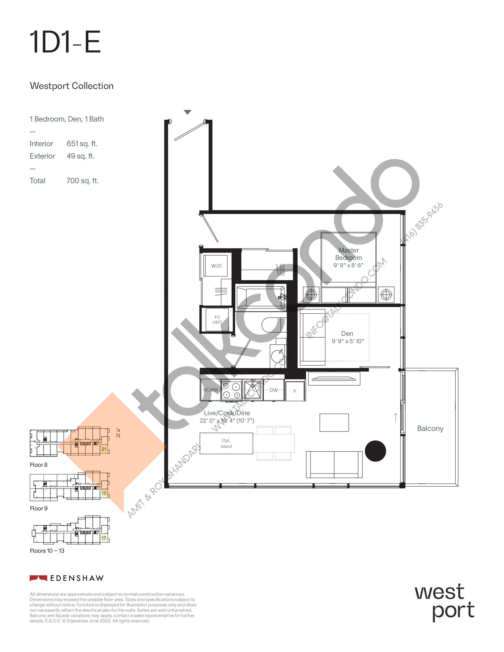 1D1-E - Westport Collection Floor Plan at Westport Condos - 651 sq.ft