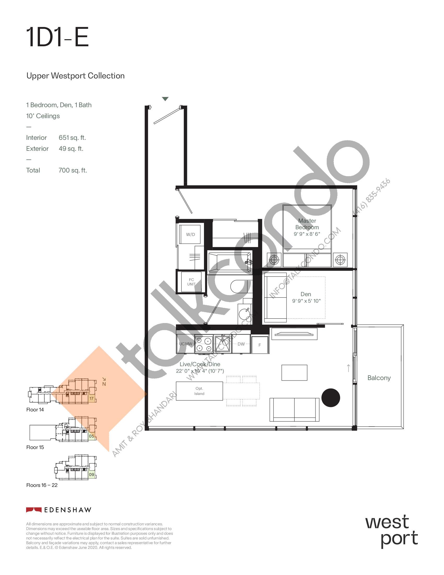 1D1-E - Upper Westport Collection Floor Plan at Westport Condos - 651 sq.ft