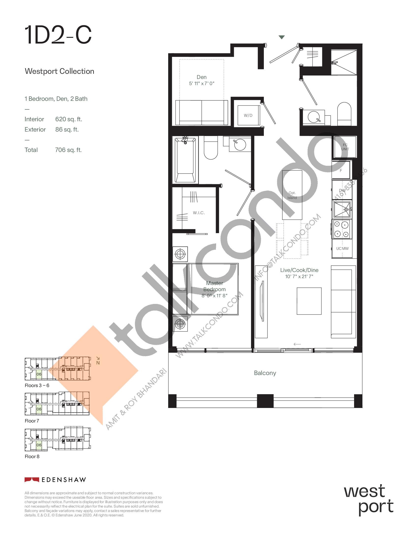 1D2-C - Westport Collection Floor Plan at Westport Condos - 620 sq.ft