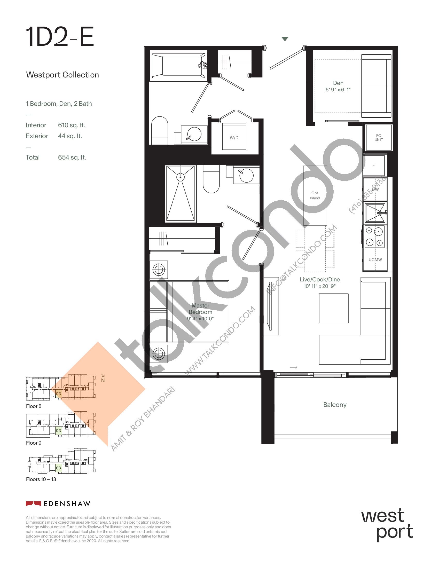 1D2-E - Westport Collection Floor Plan at Westport Condos - 610 sq.ft
