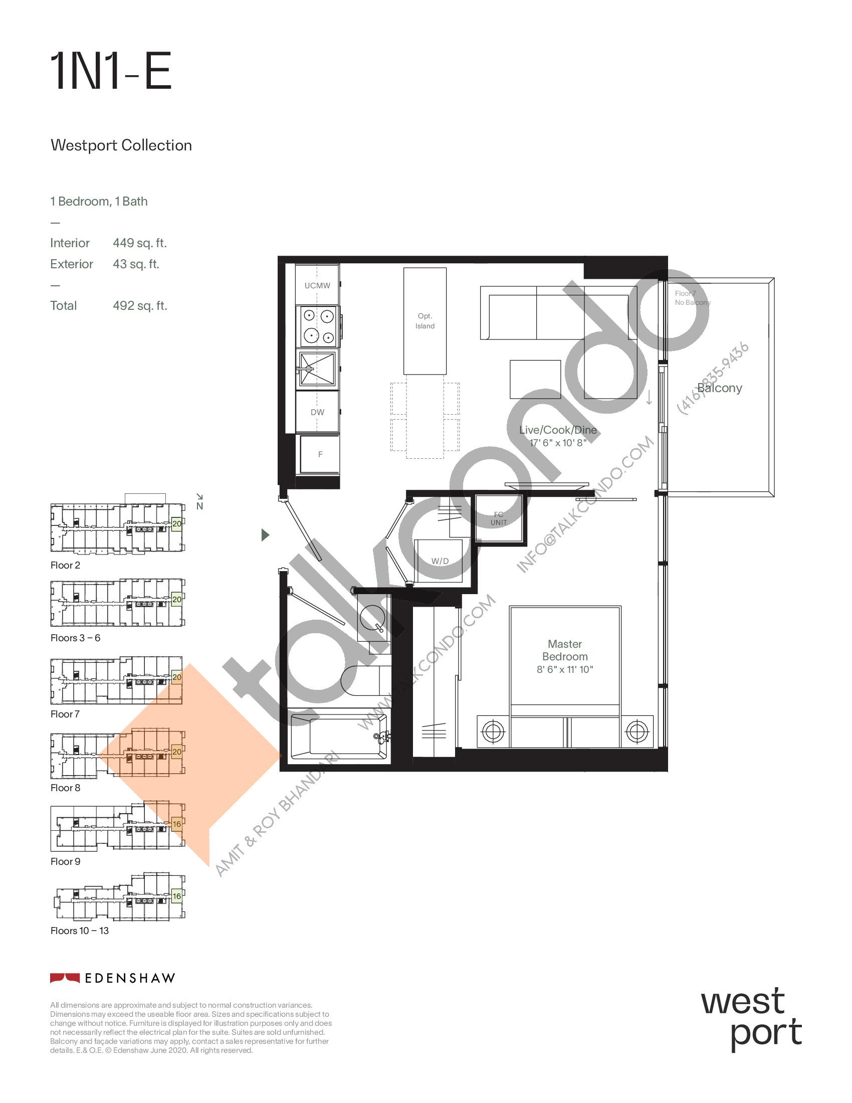 1N1-E - Westport Collection Floor Plan at Westport Condos - 449 sq.ft