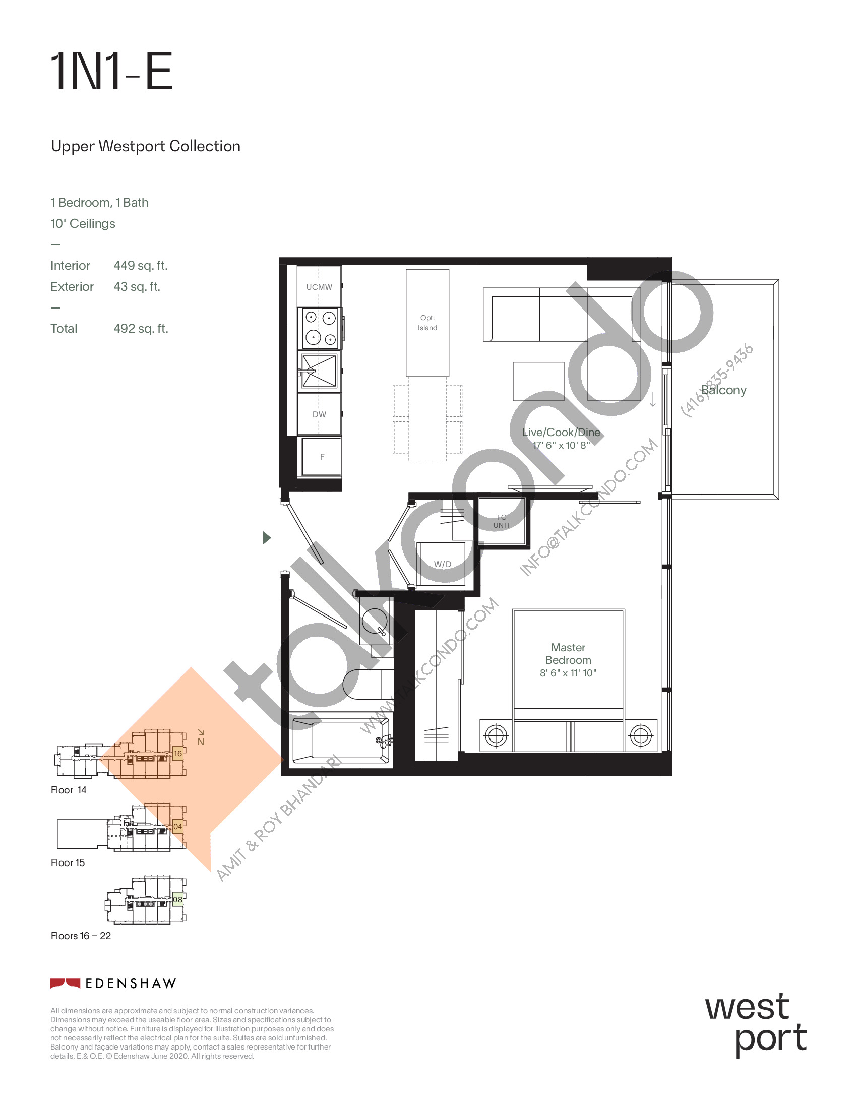 1N1-E - Upper Westport Collection Floor Plan at Westport Condos - 449 sq.ft